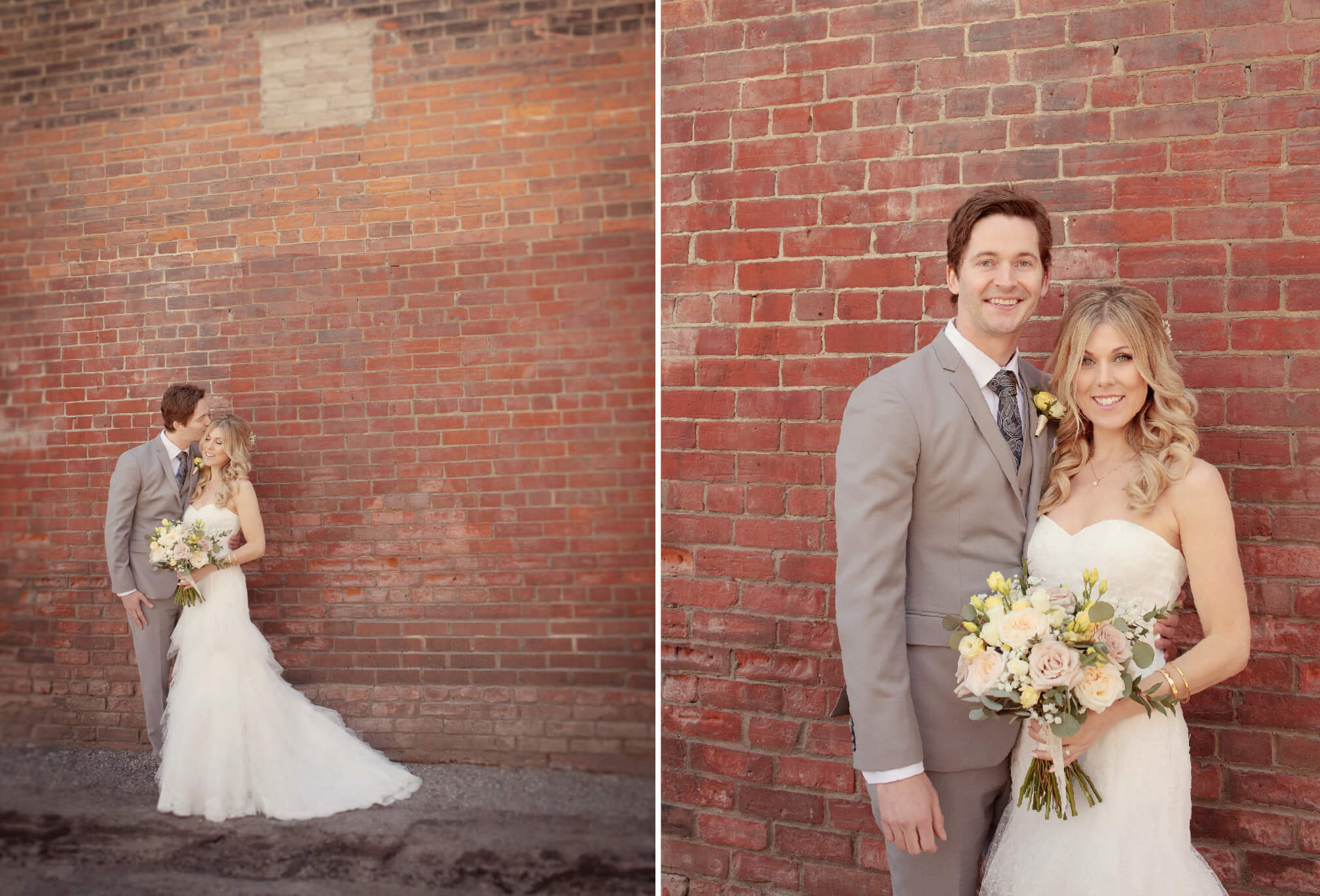 bride and groom outside gladtone hotel