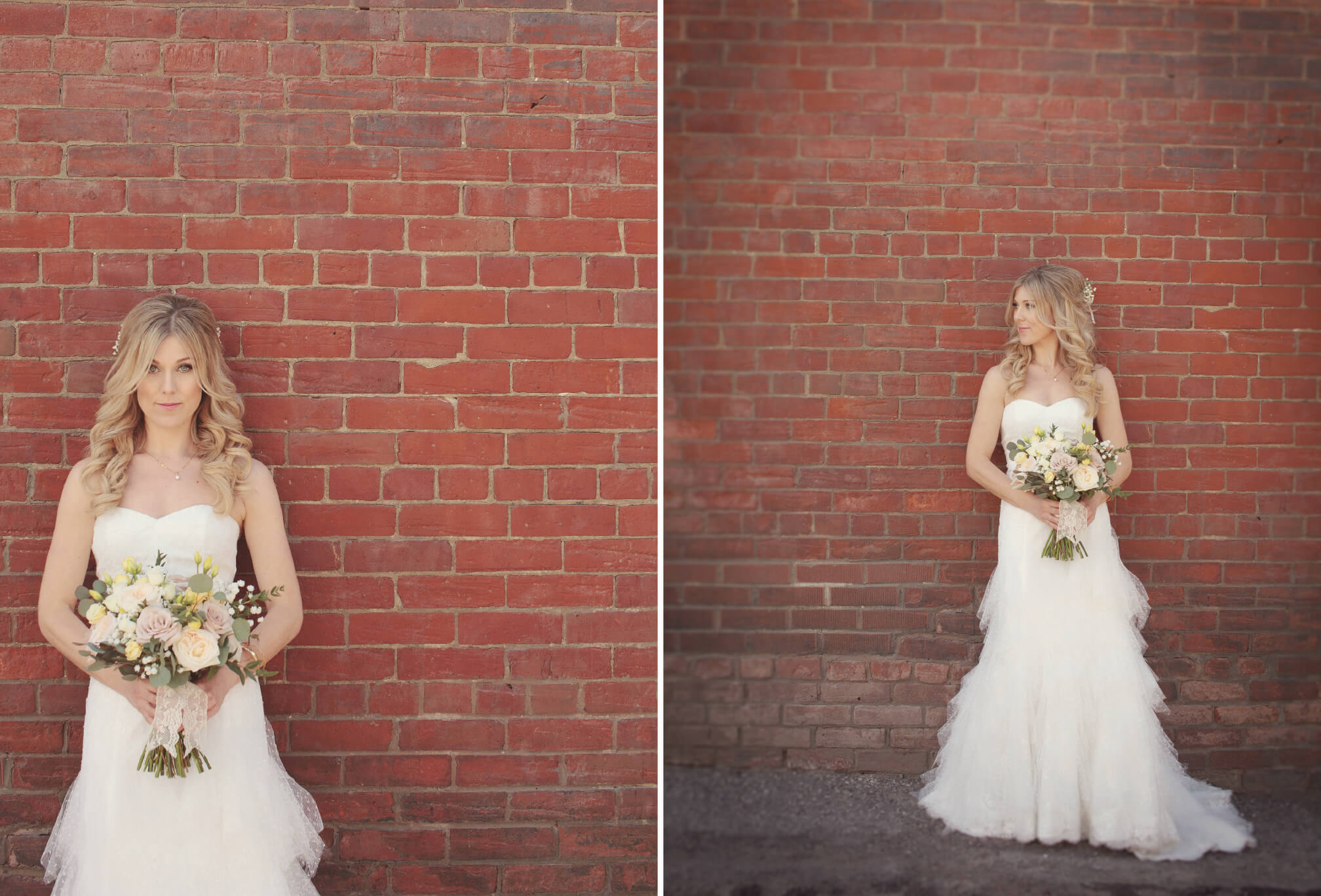bride posing brick wall toronto