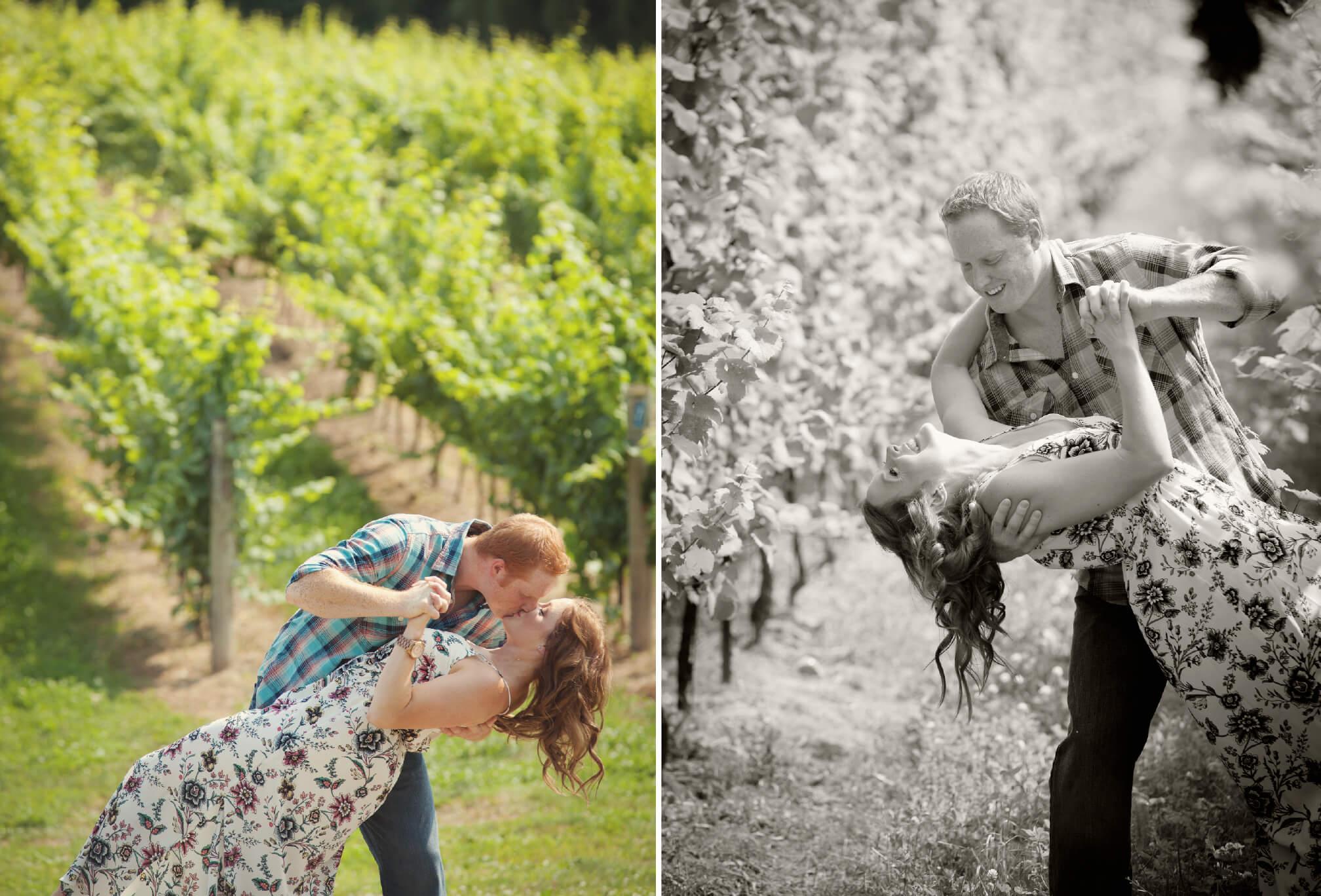 couple walking through grape vines vineland