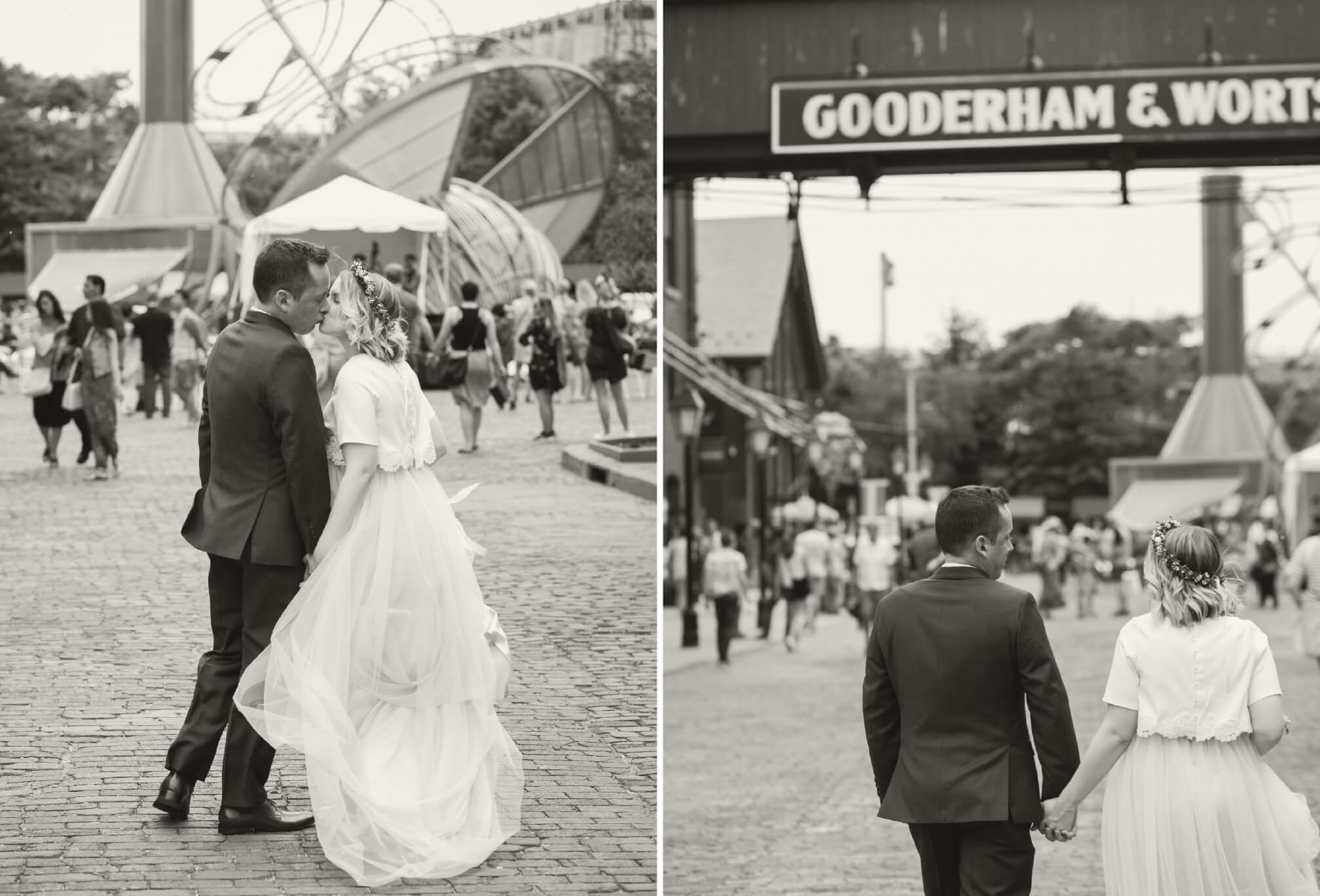 walking through distillery district wedding
