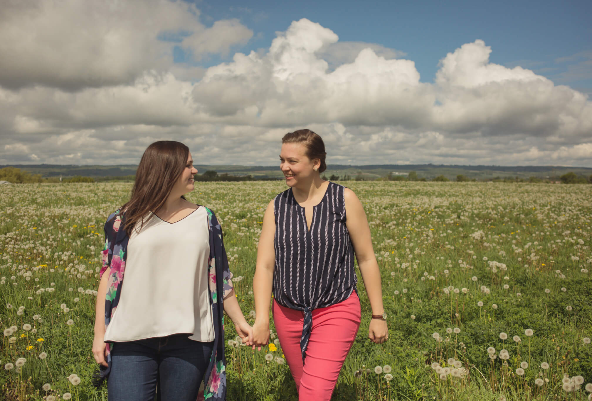lesbian couple photography in flower field