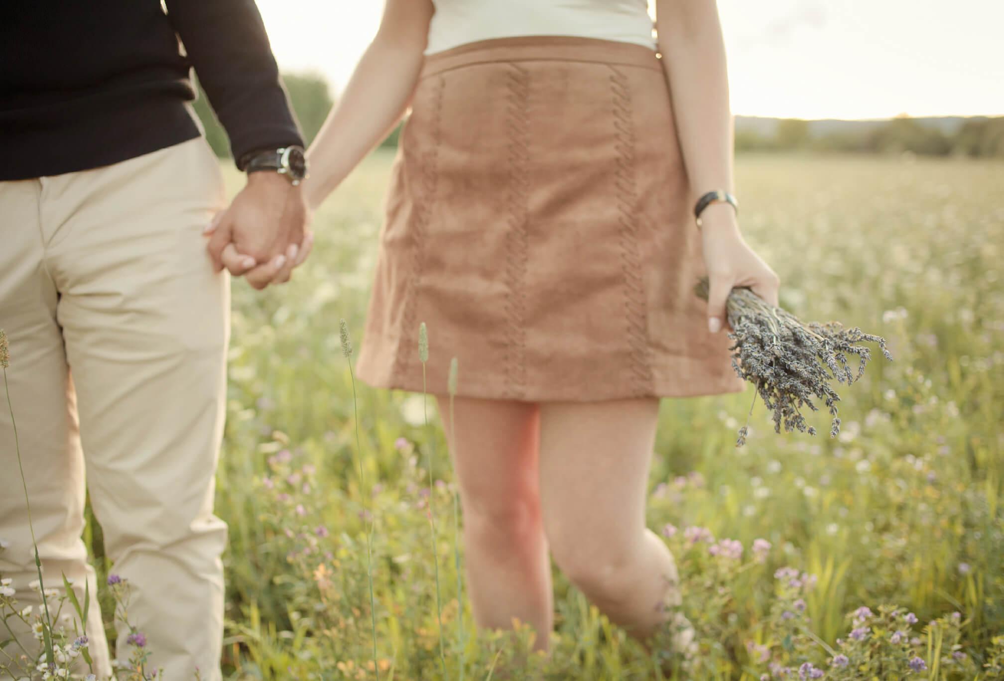 wildflower feild engagement