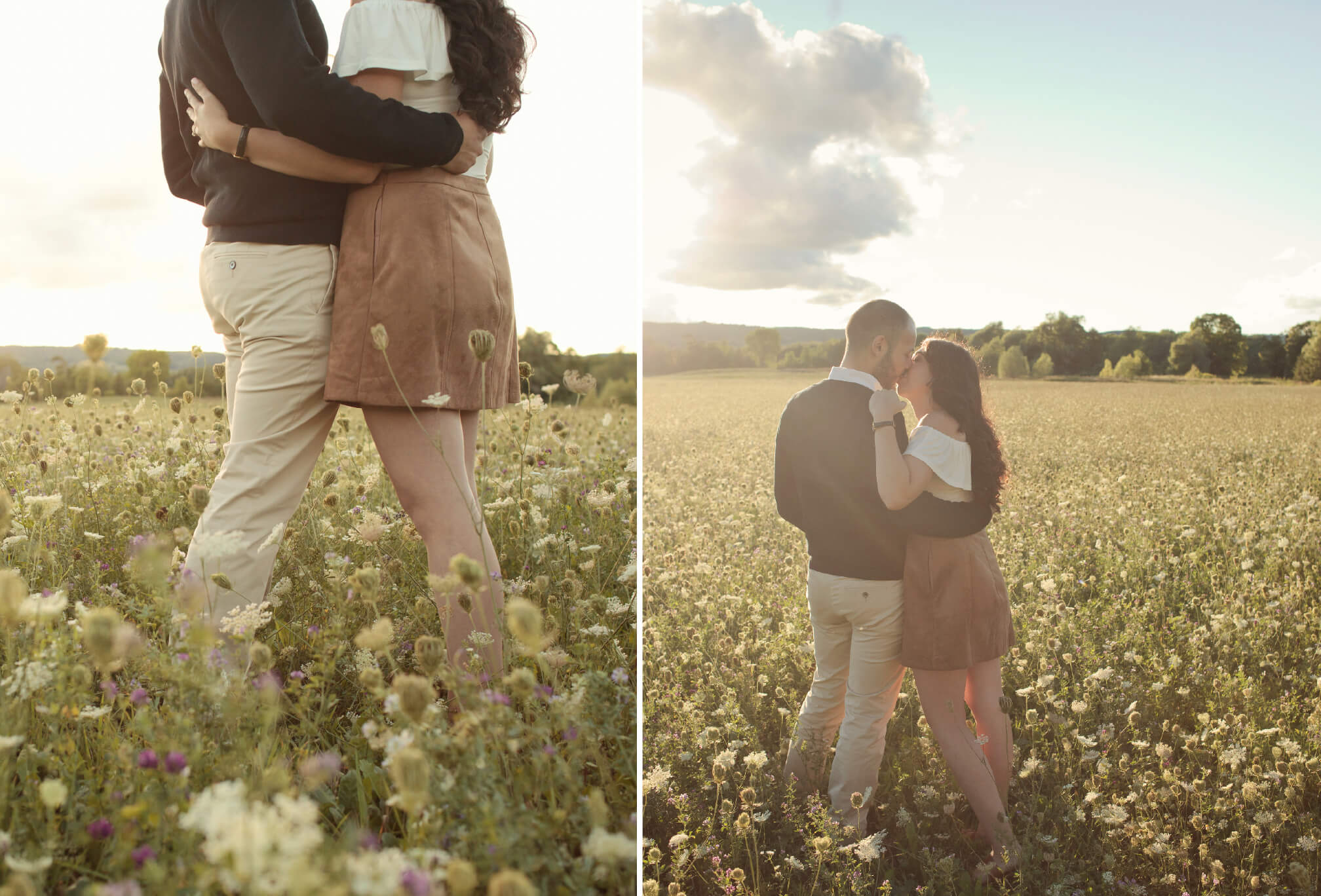 wildflower field at sunset engagement