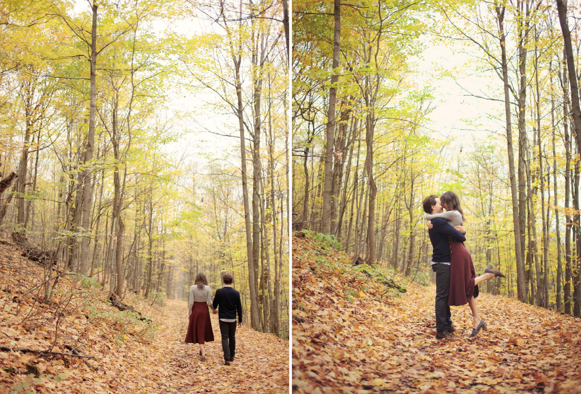 walk through a forest couple session