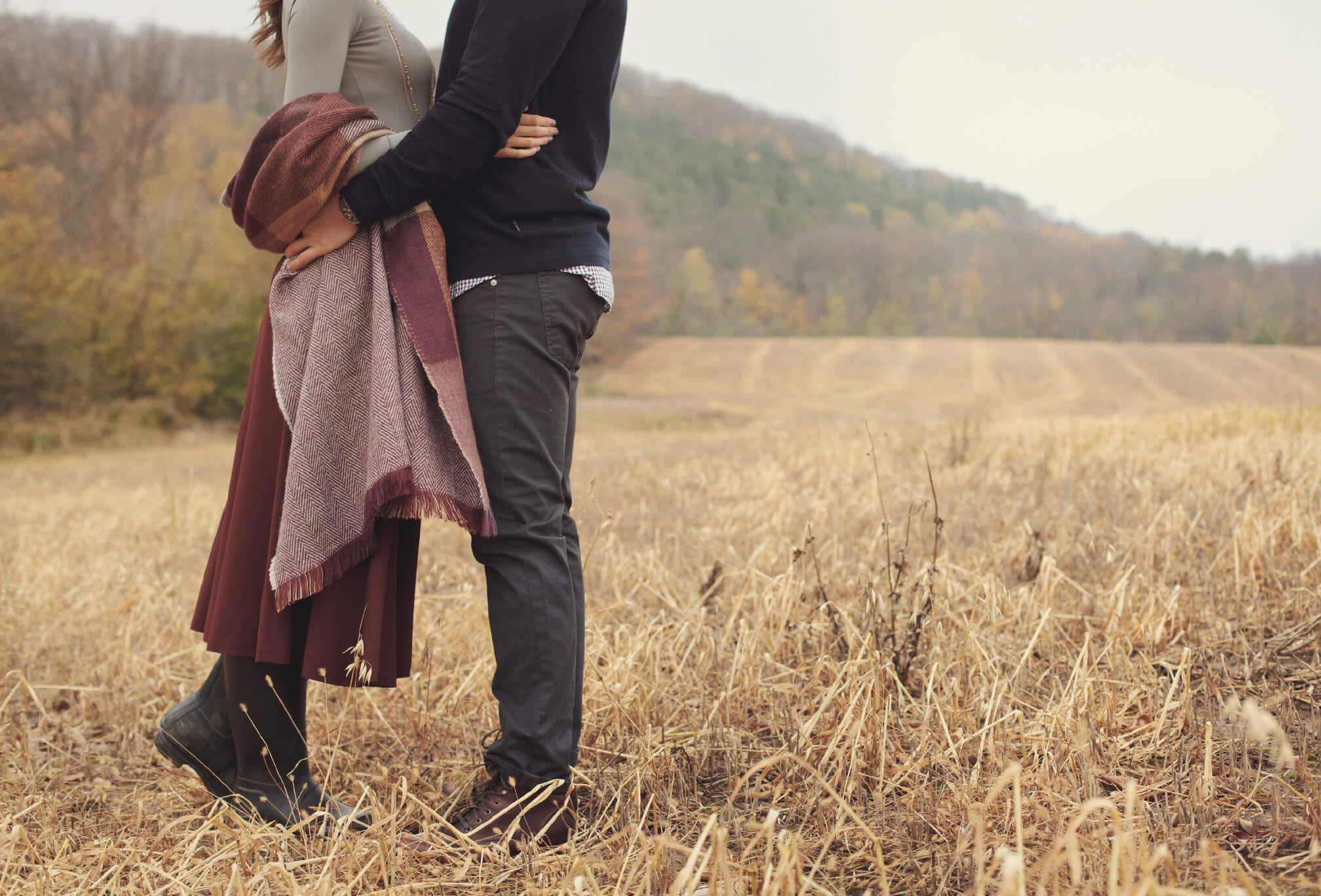 rustic hay field engagement