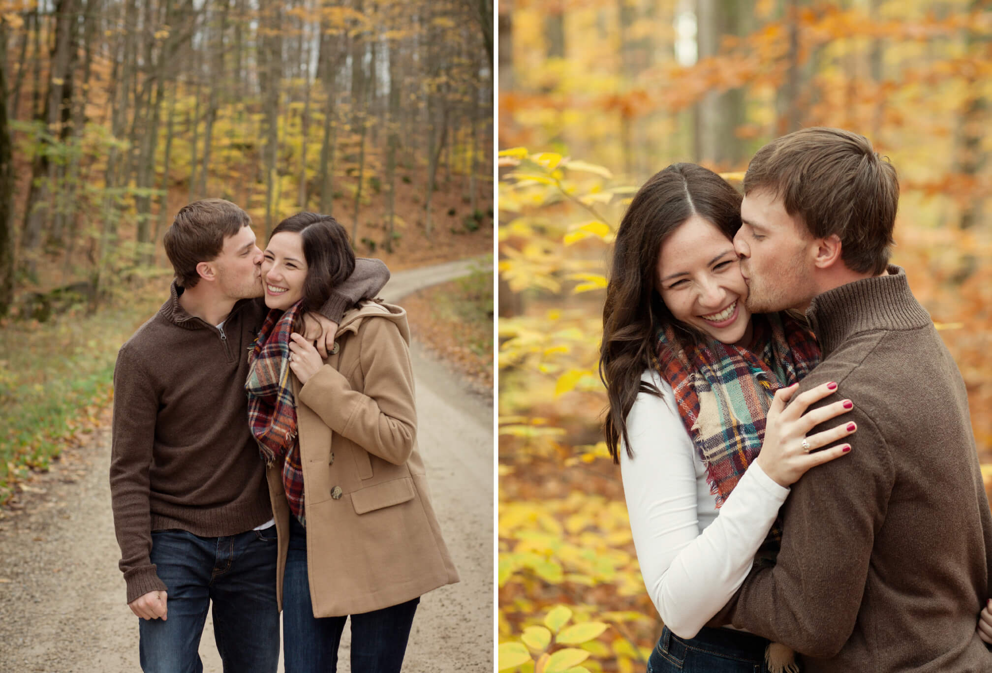 colourful fall engagement session