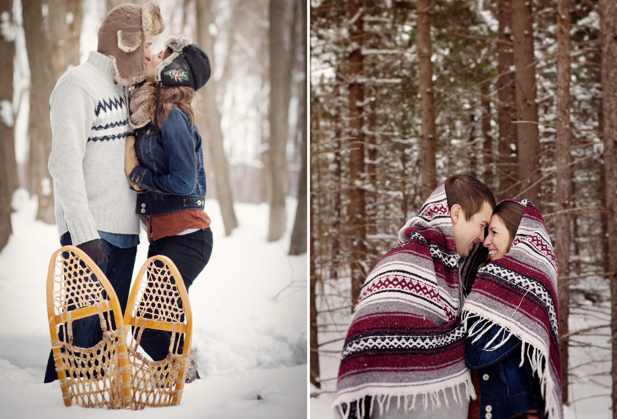 forest in winter engagement couple