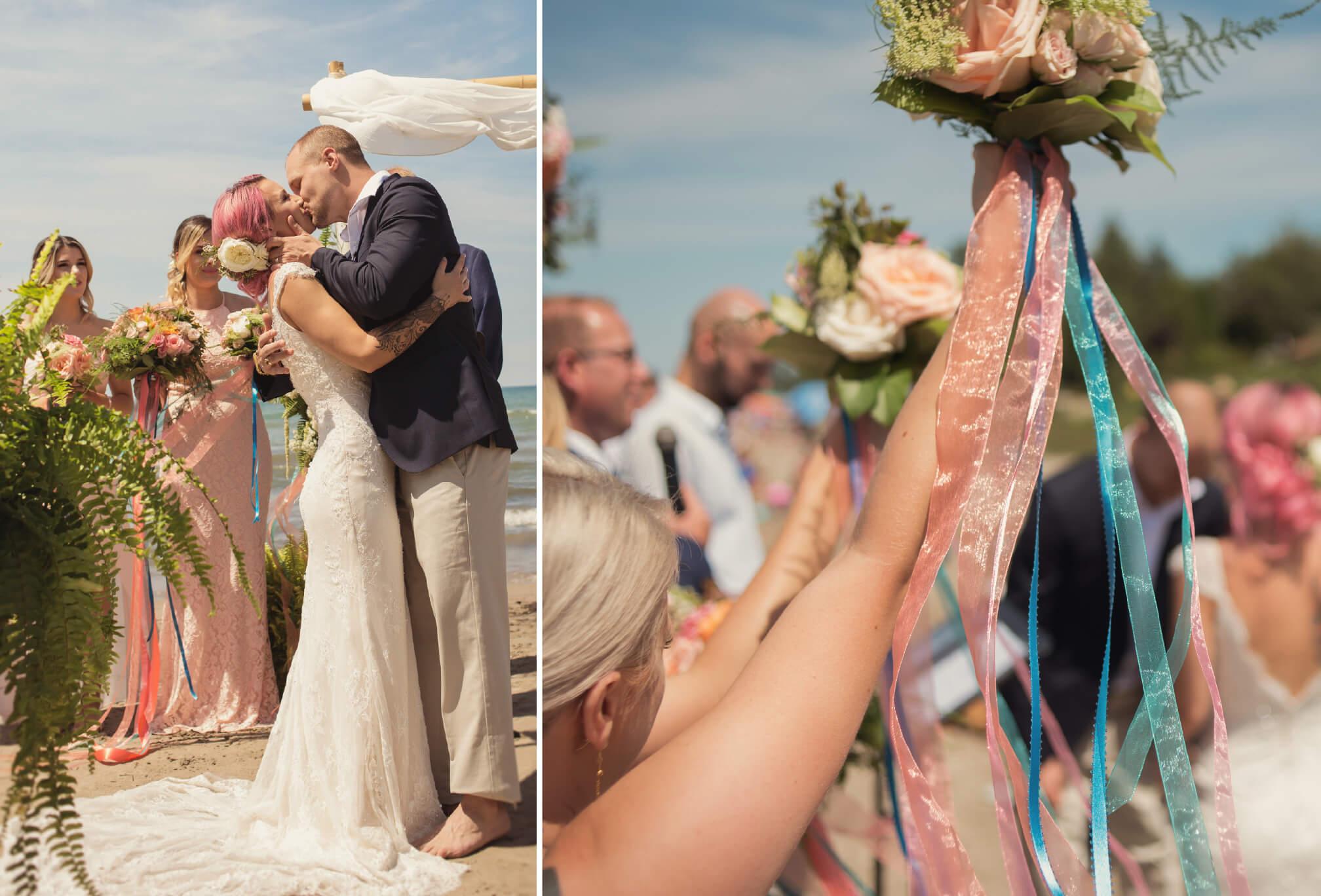 beachfront ceremony kiss