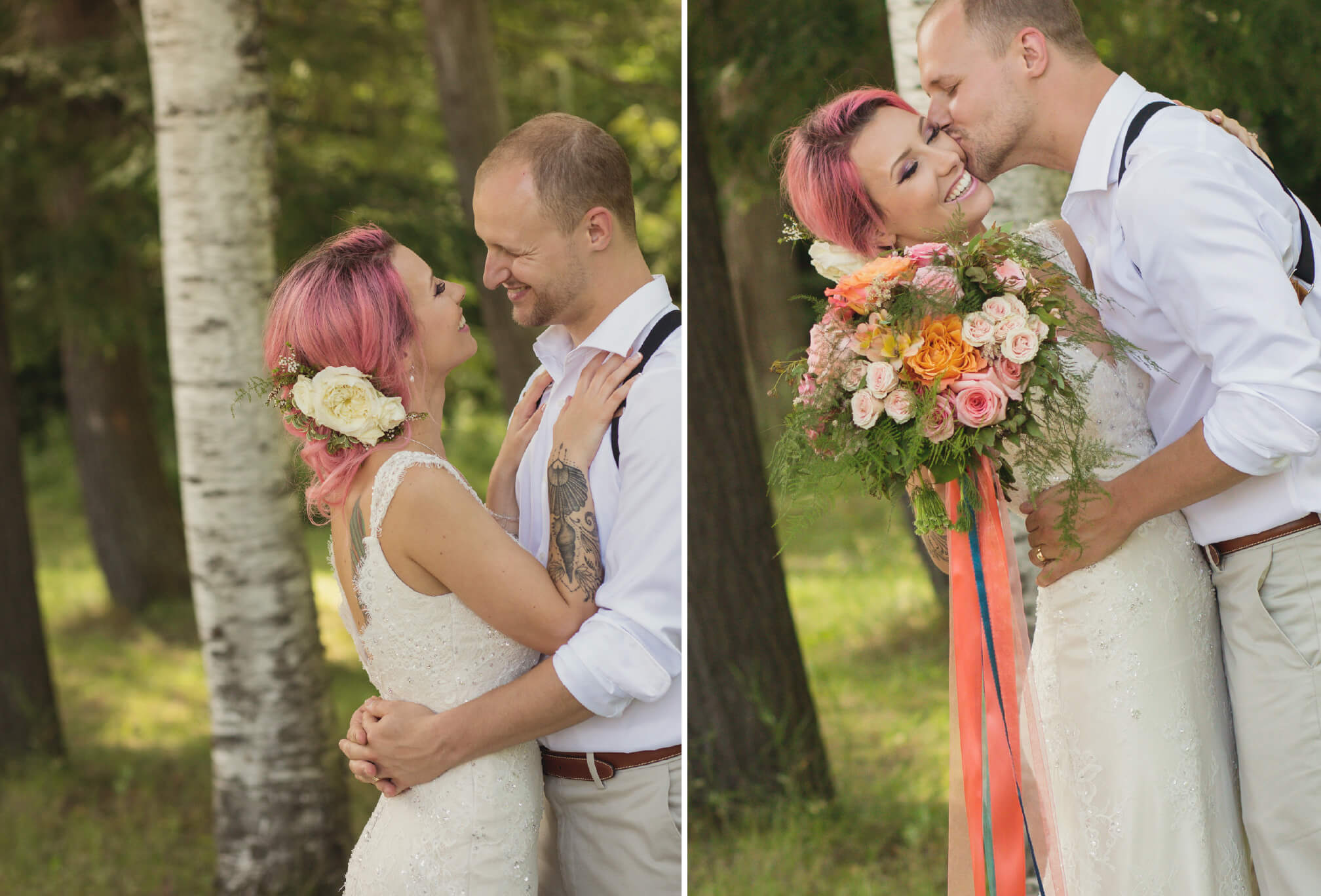 candid photography pink hair bride