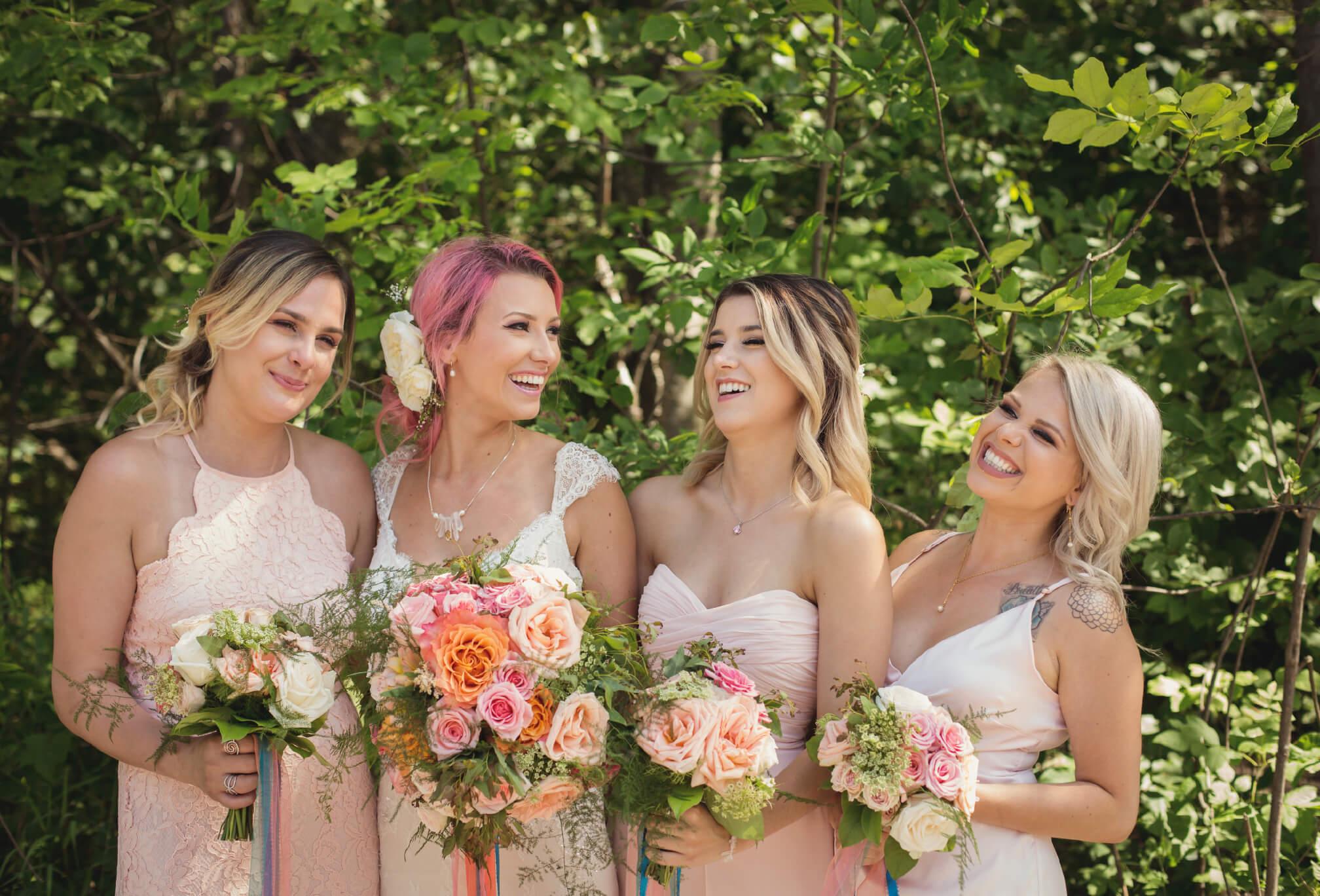 pink wedding day details