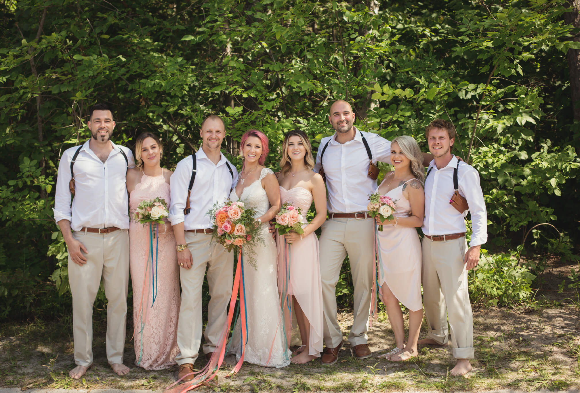 casual beach wedding party