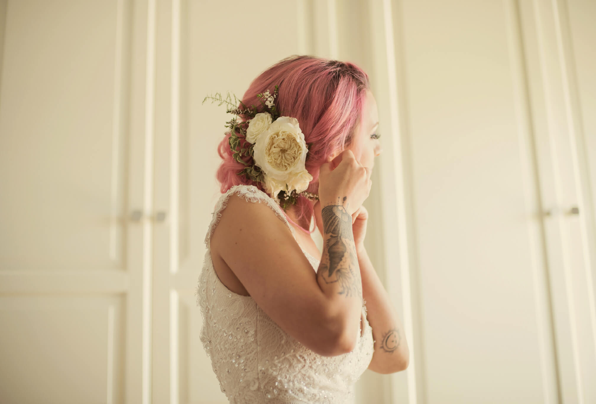 bride getting ready pink hair