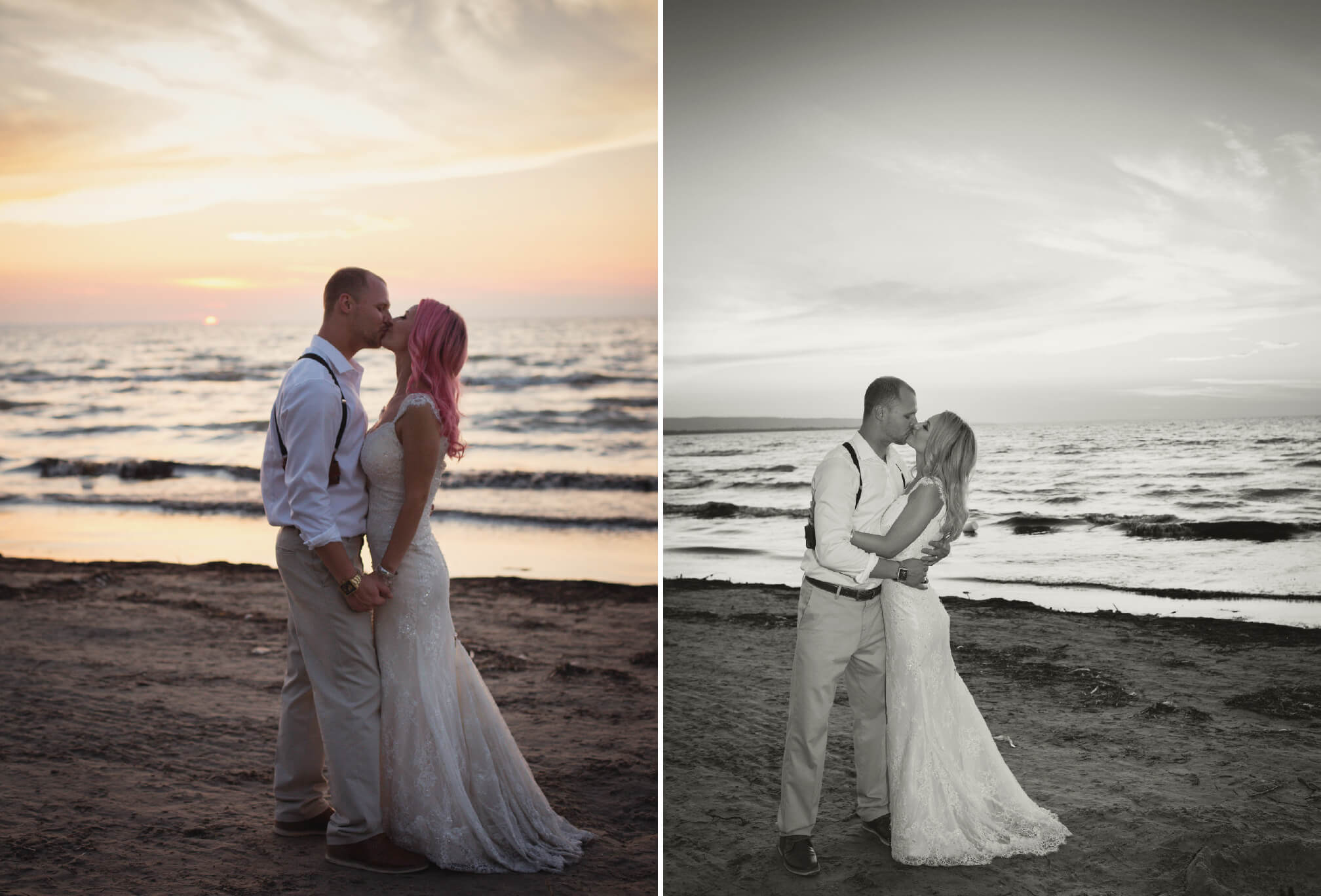 sunset kiss bride and groom