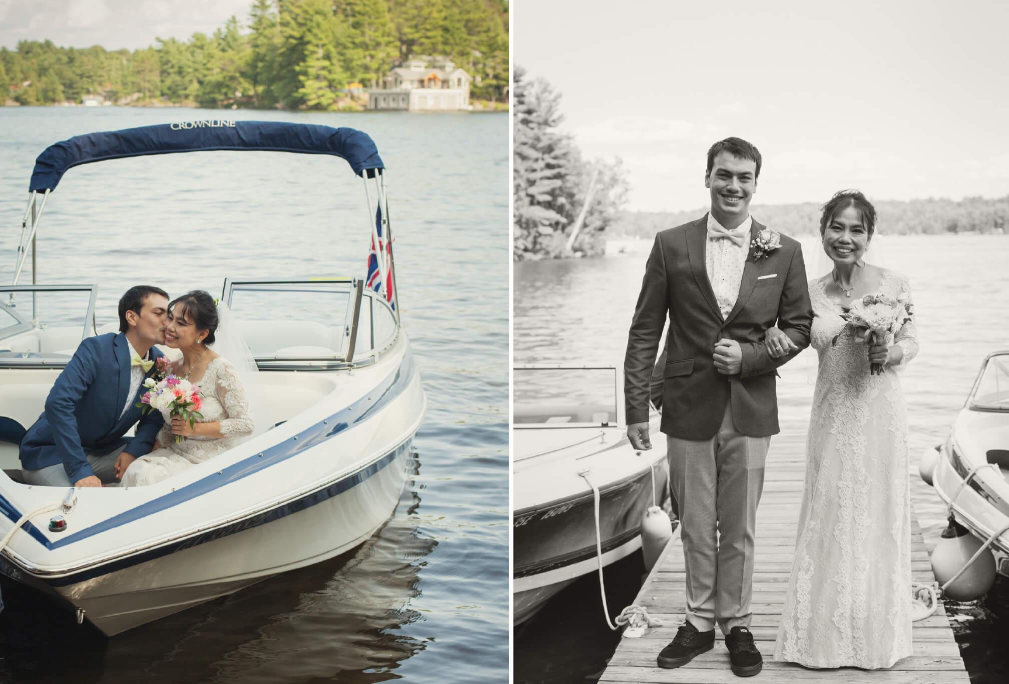 bride on boat cottage wedding