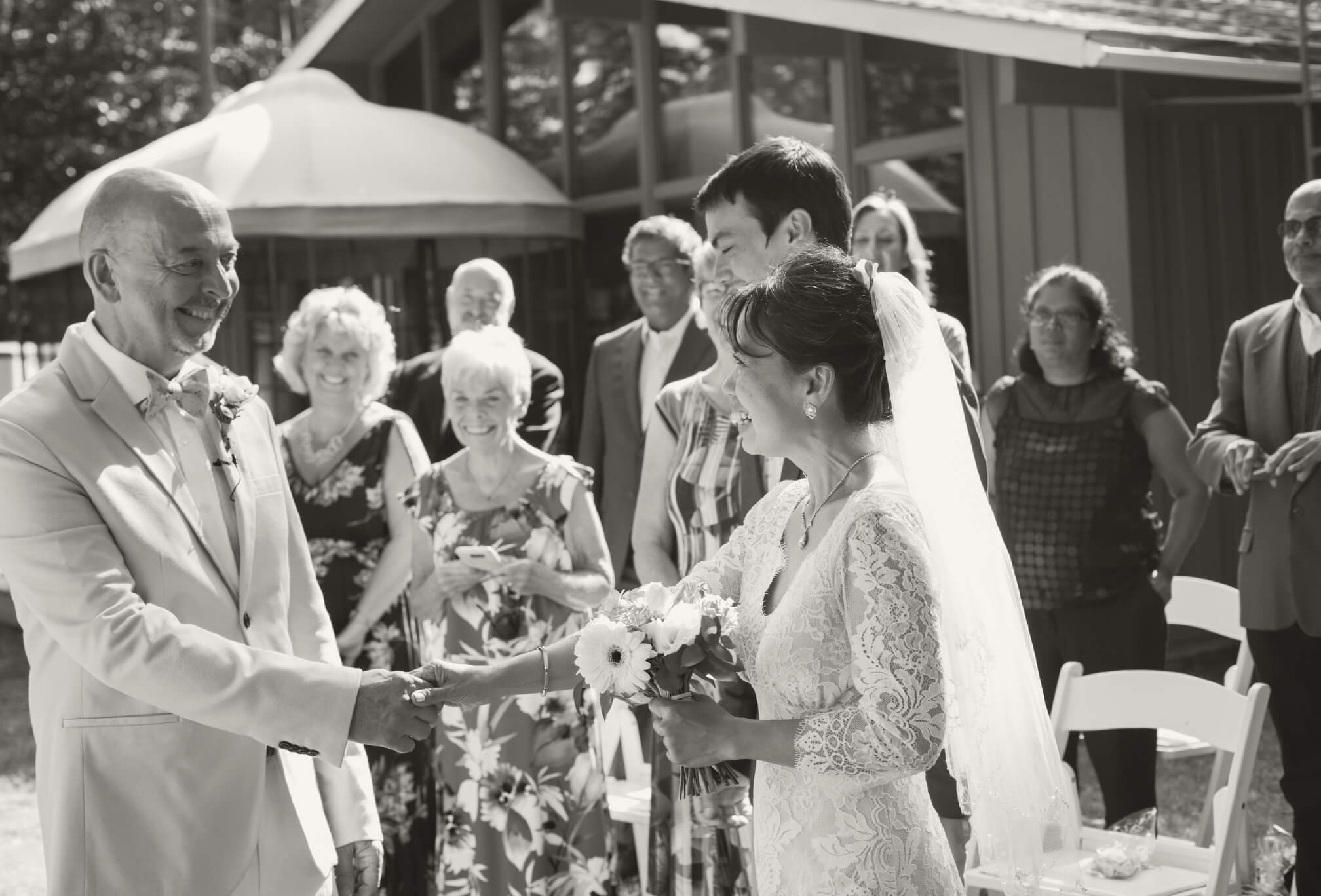 small cottage wedding ceremony