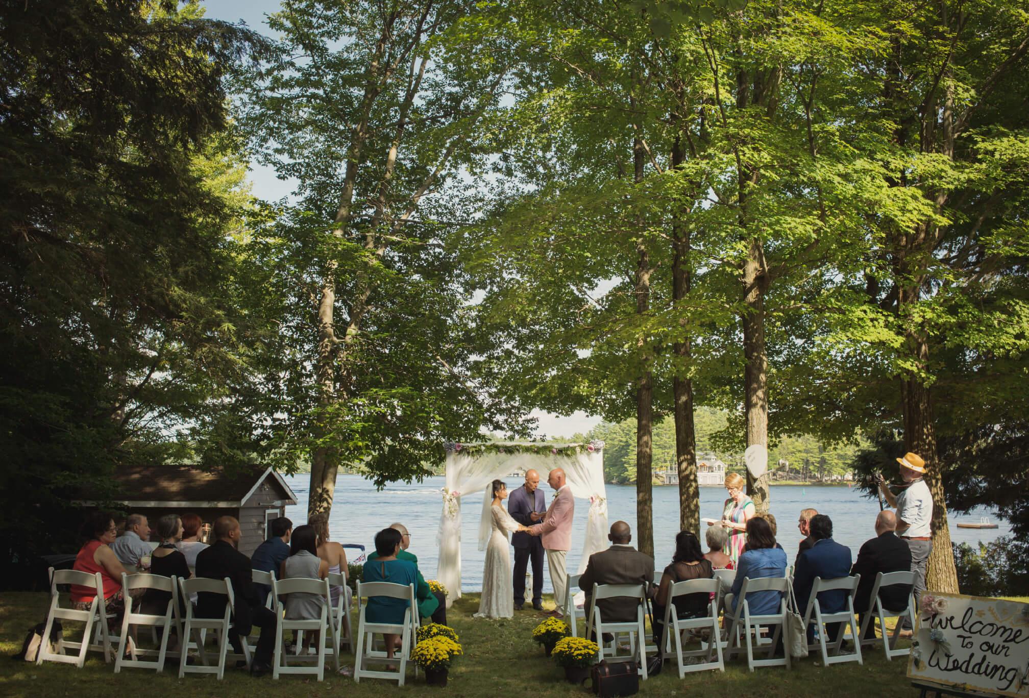 cottage wedding by lake acton island