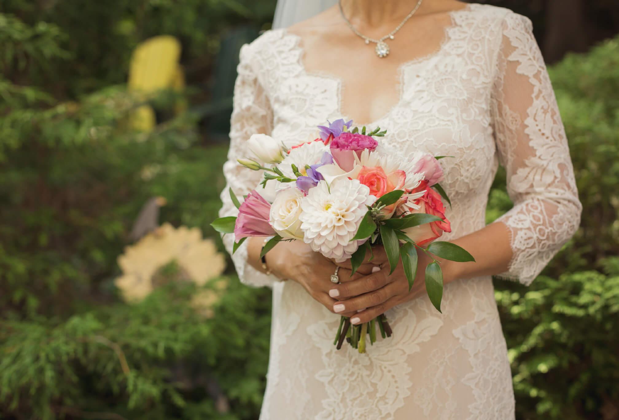 lace dress cottage wedding