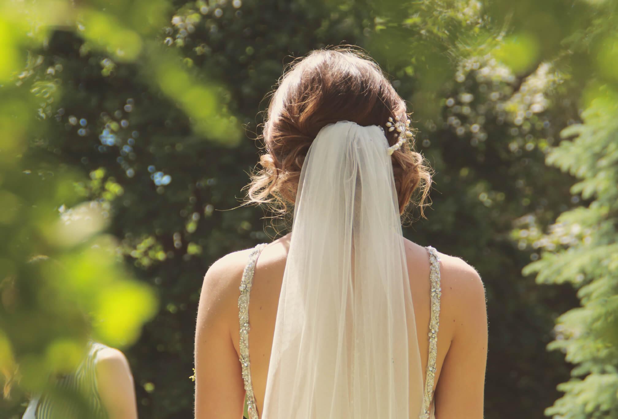 back of bride veil