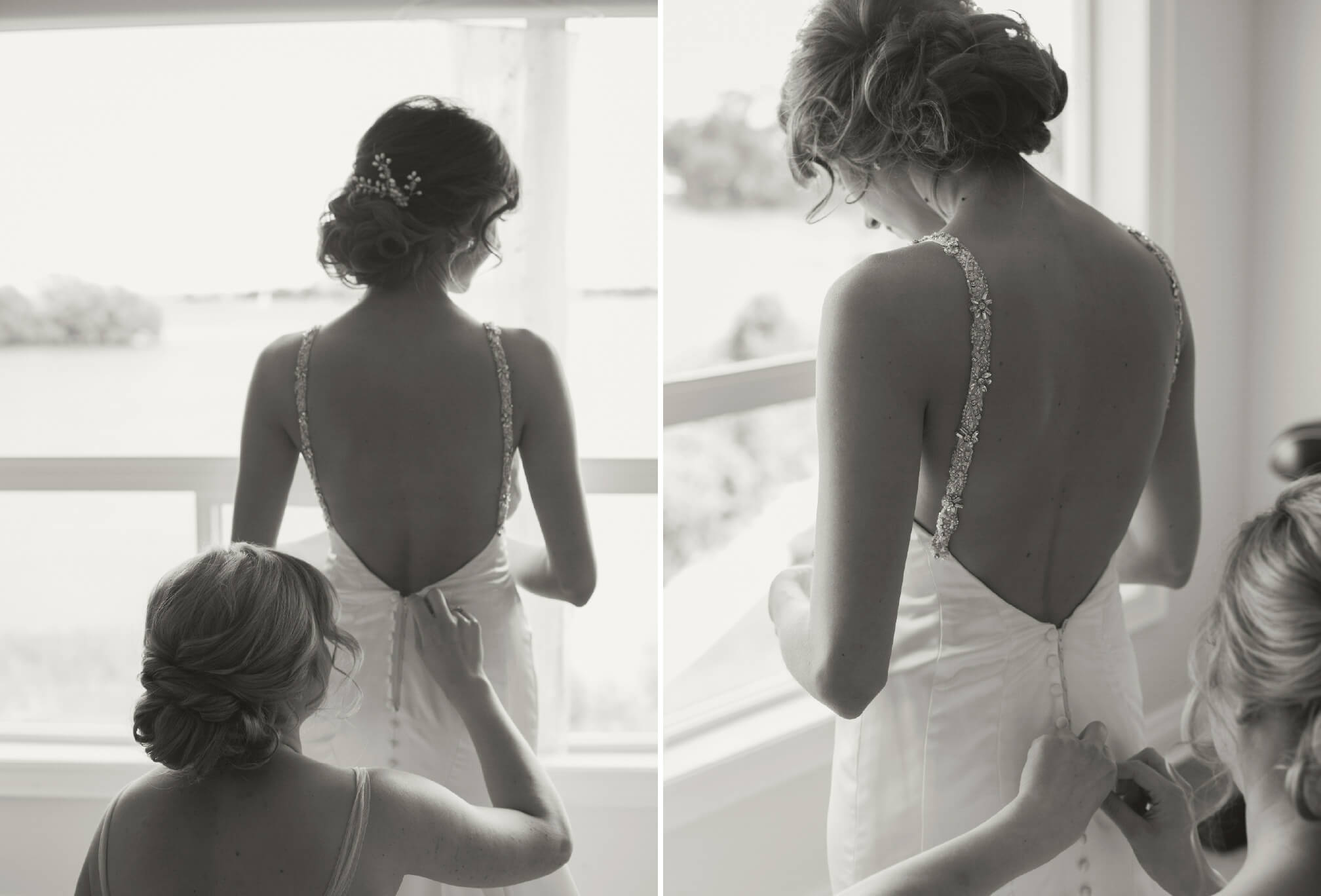 bride getting ready collingwood waterfront