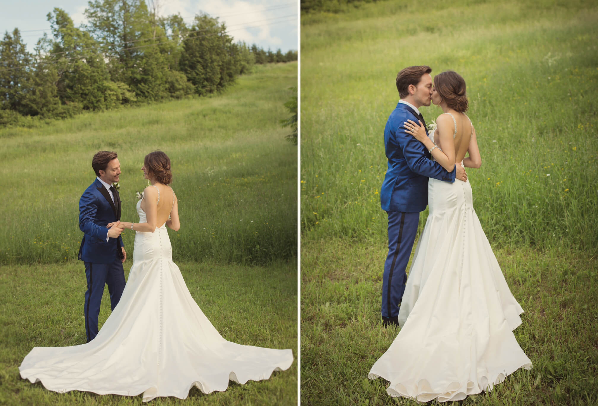 bride and groom on ski hill photos