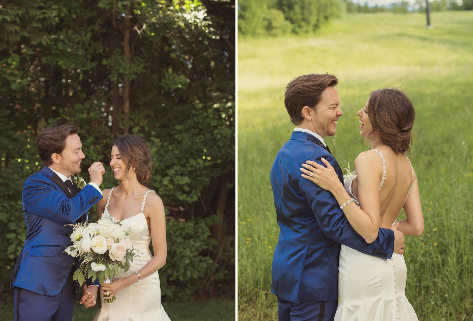 bride and groom on ski hill photos