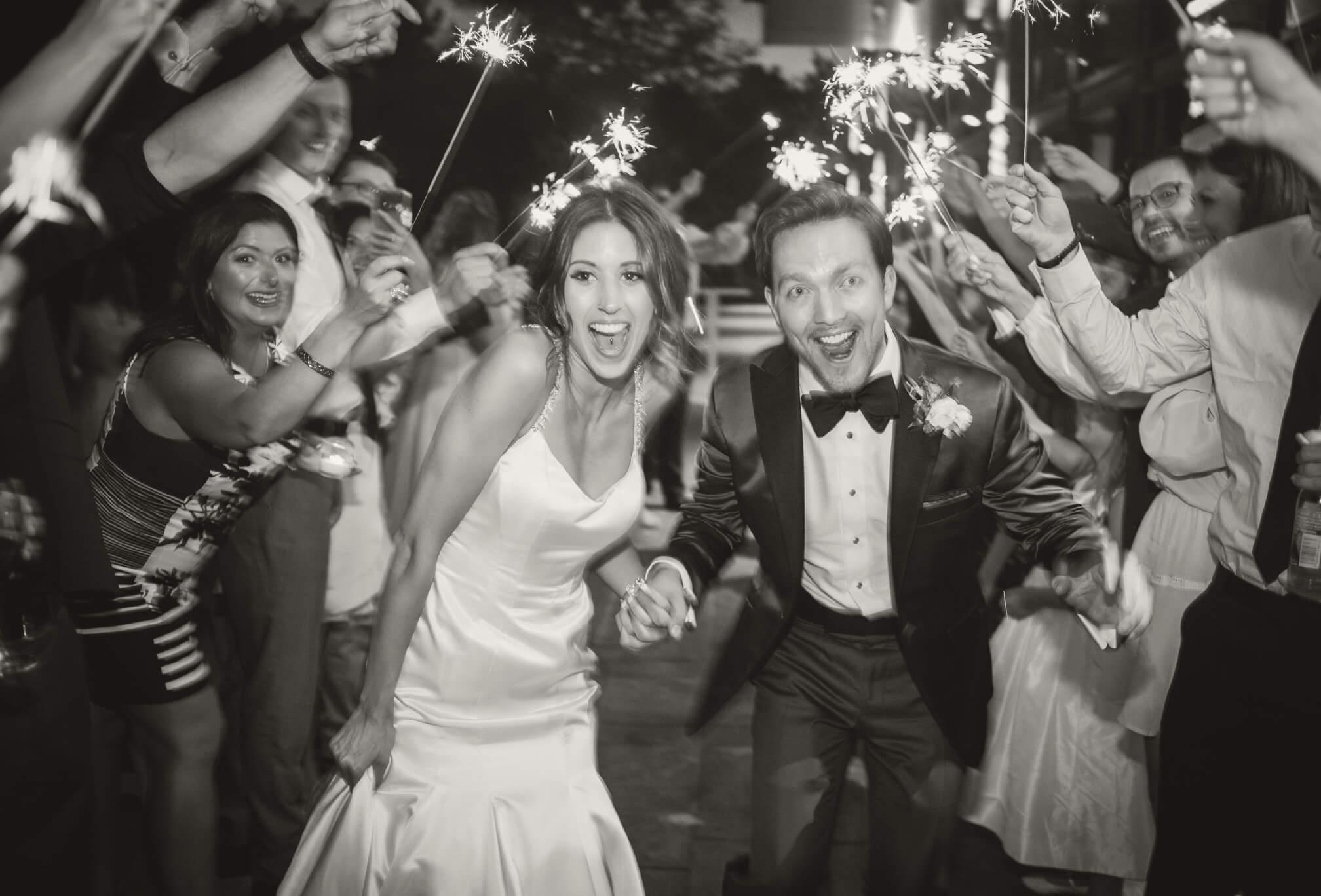 fireworks at wedding reception
