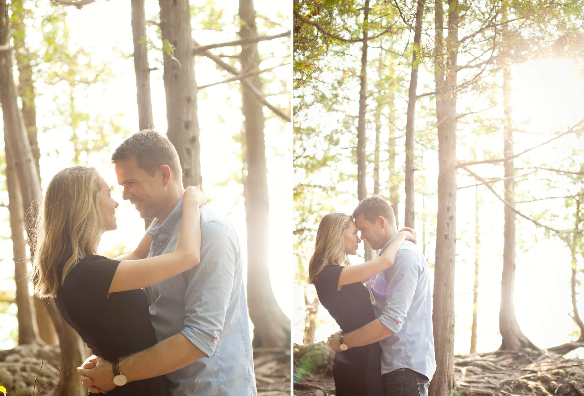 forest at magic hour engagement