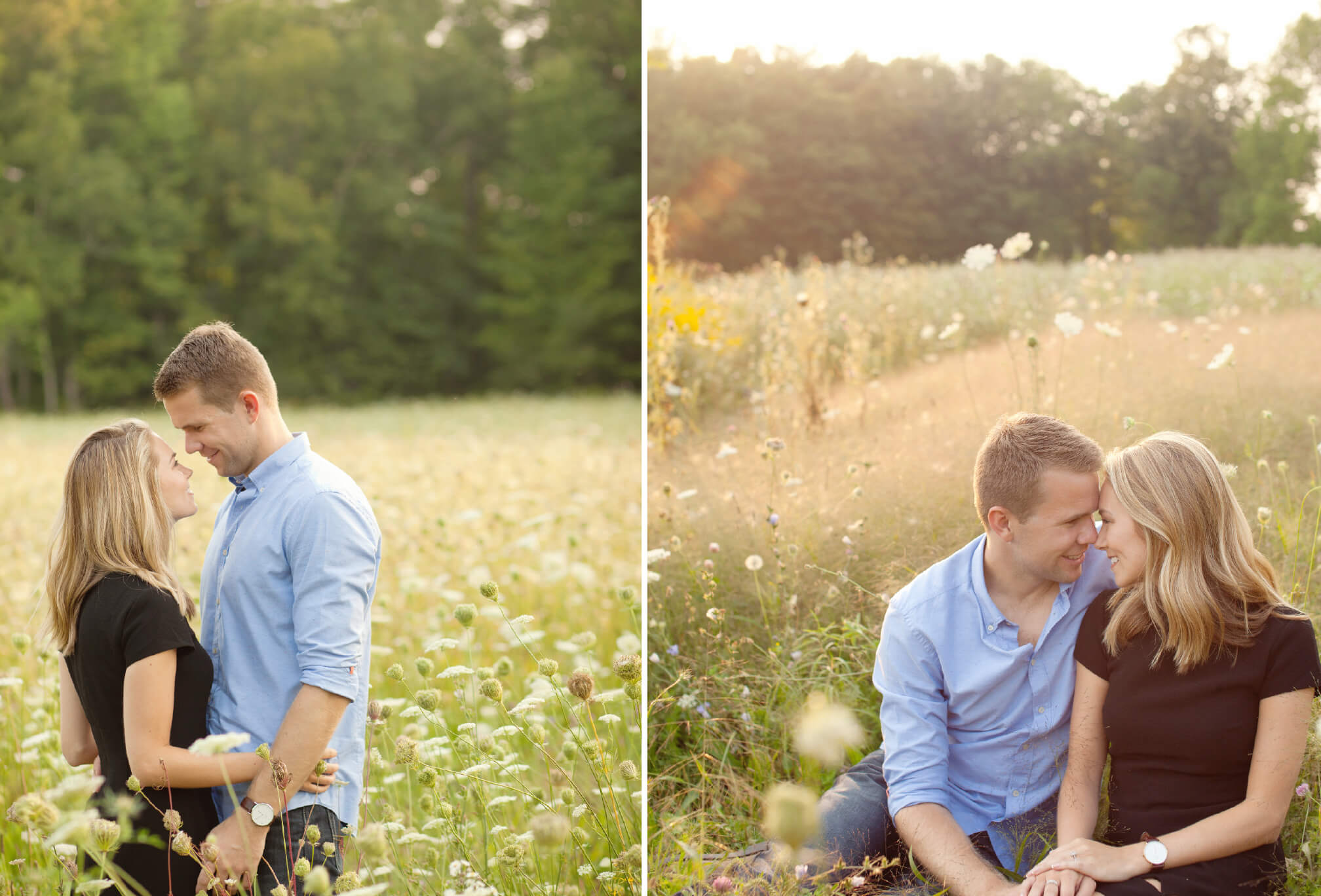 engagement session wildflower field