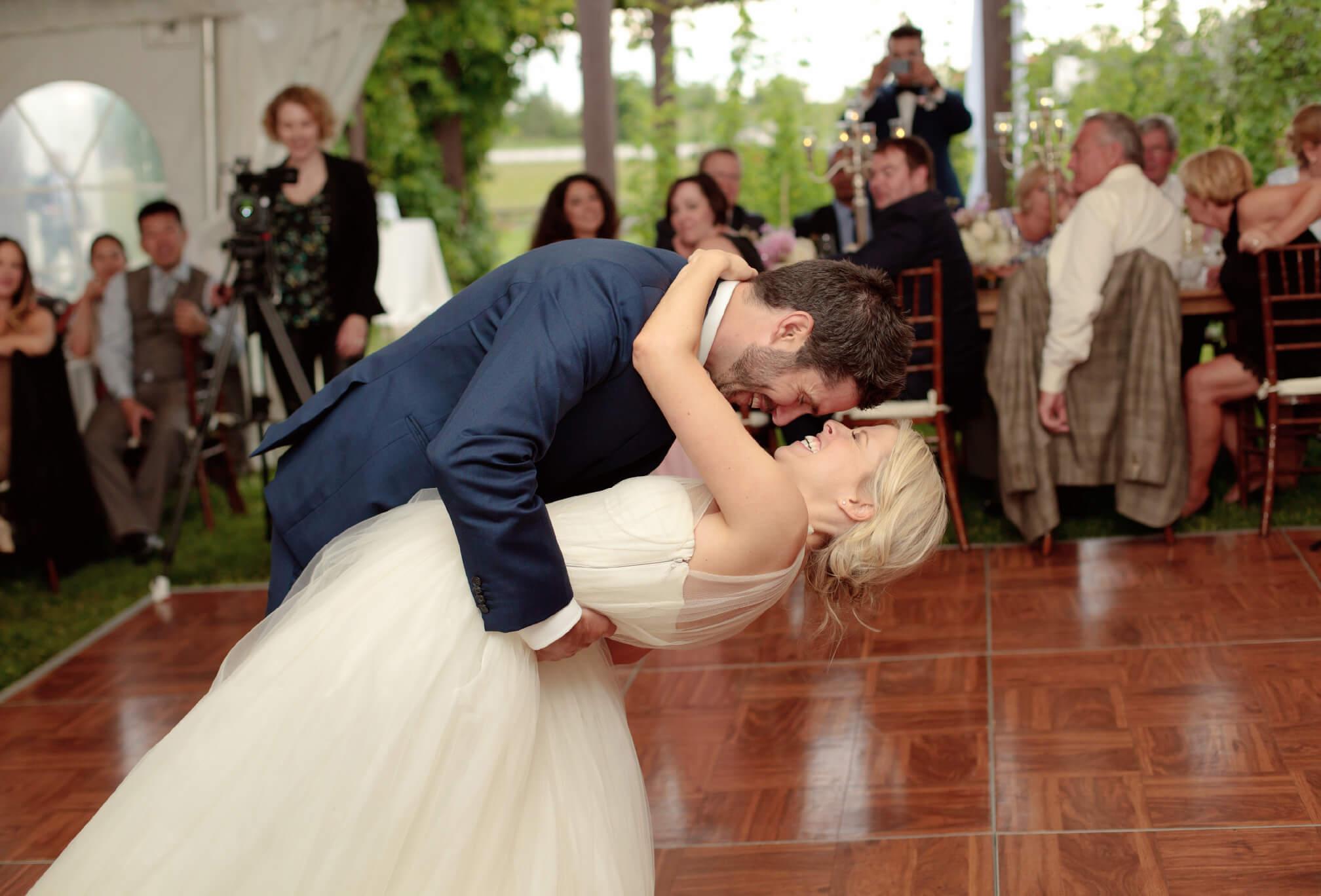 first dance in tent outdoor wedding