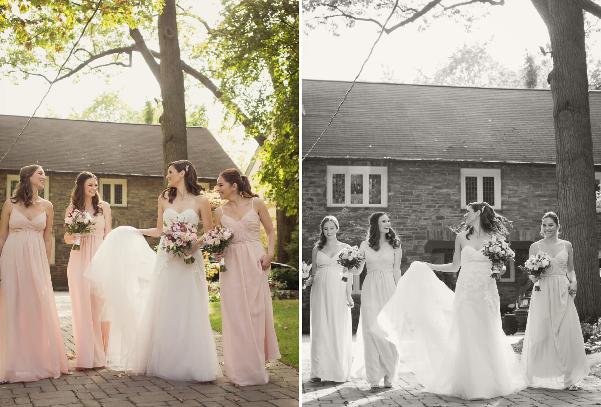 bride and bridesmaids leaving house