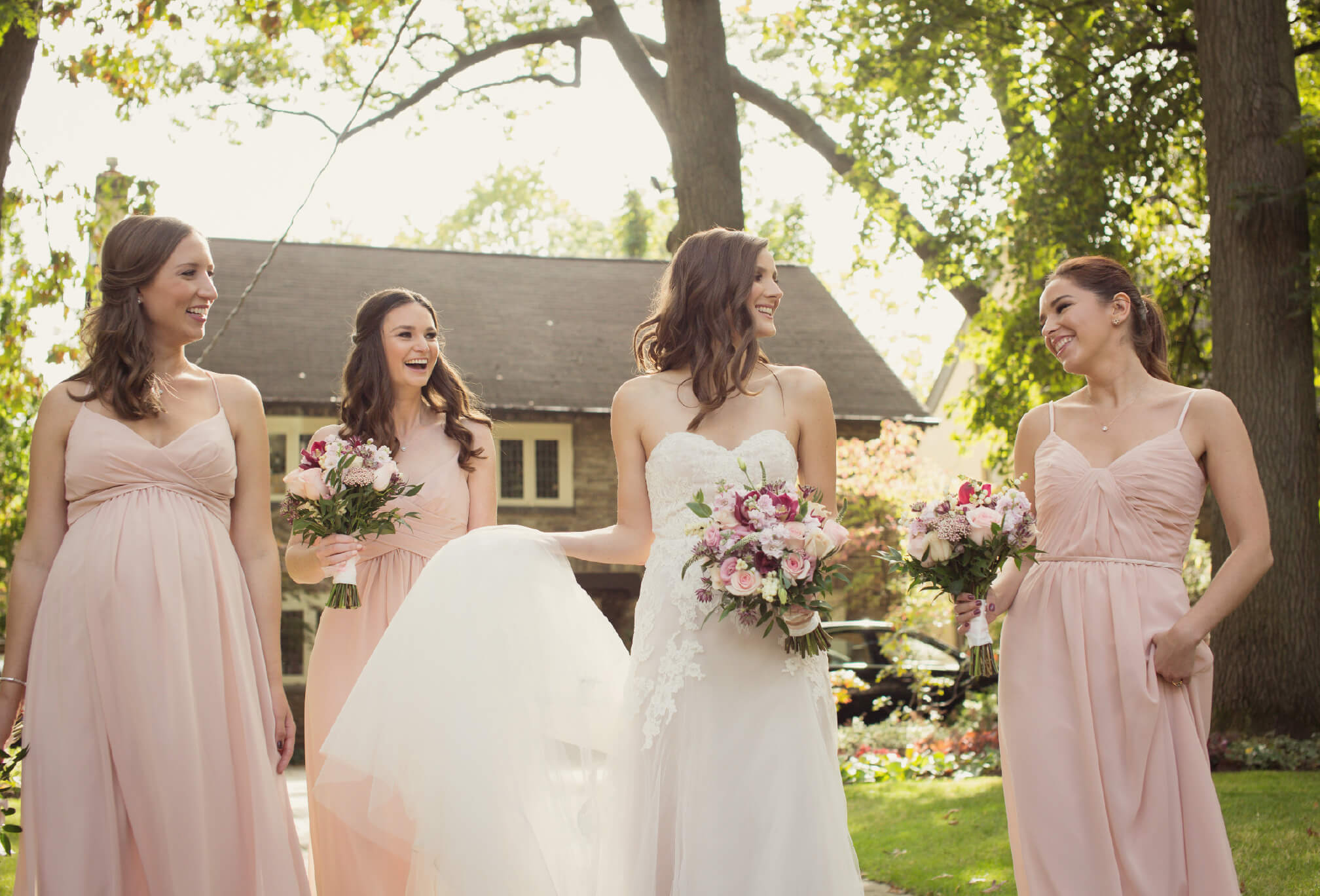 bride and bridesmaids candid moments