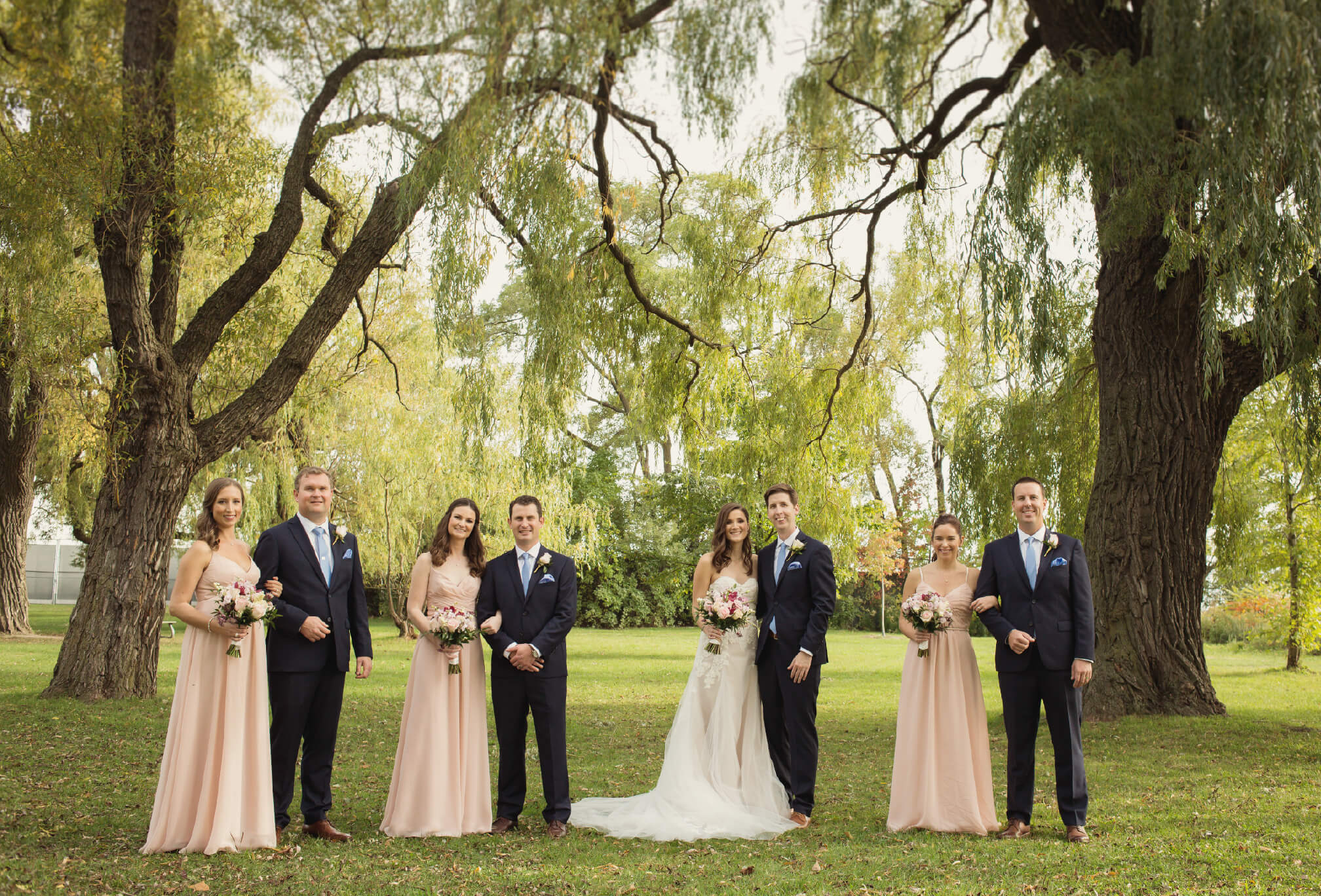 bridal party at waterfront toronto