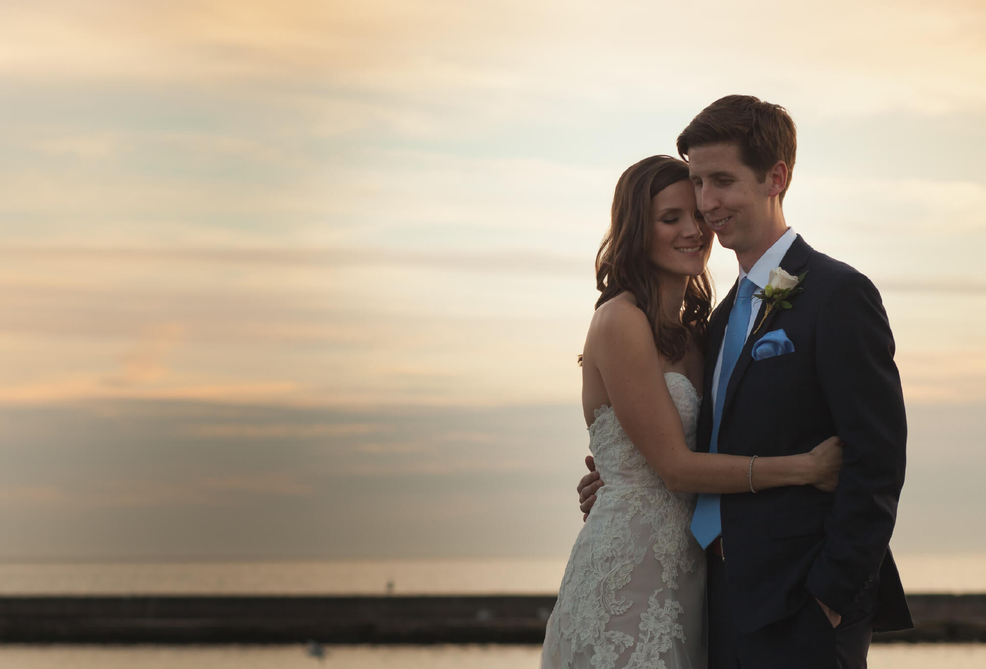 sunset on toronto waterfront wedding