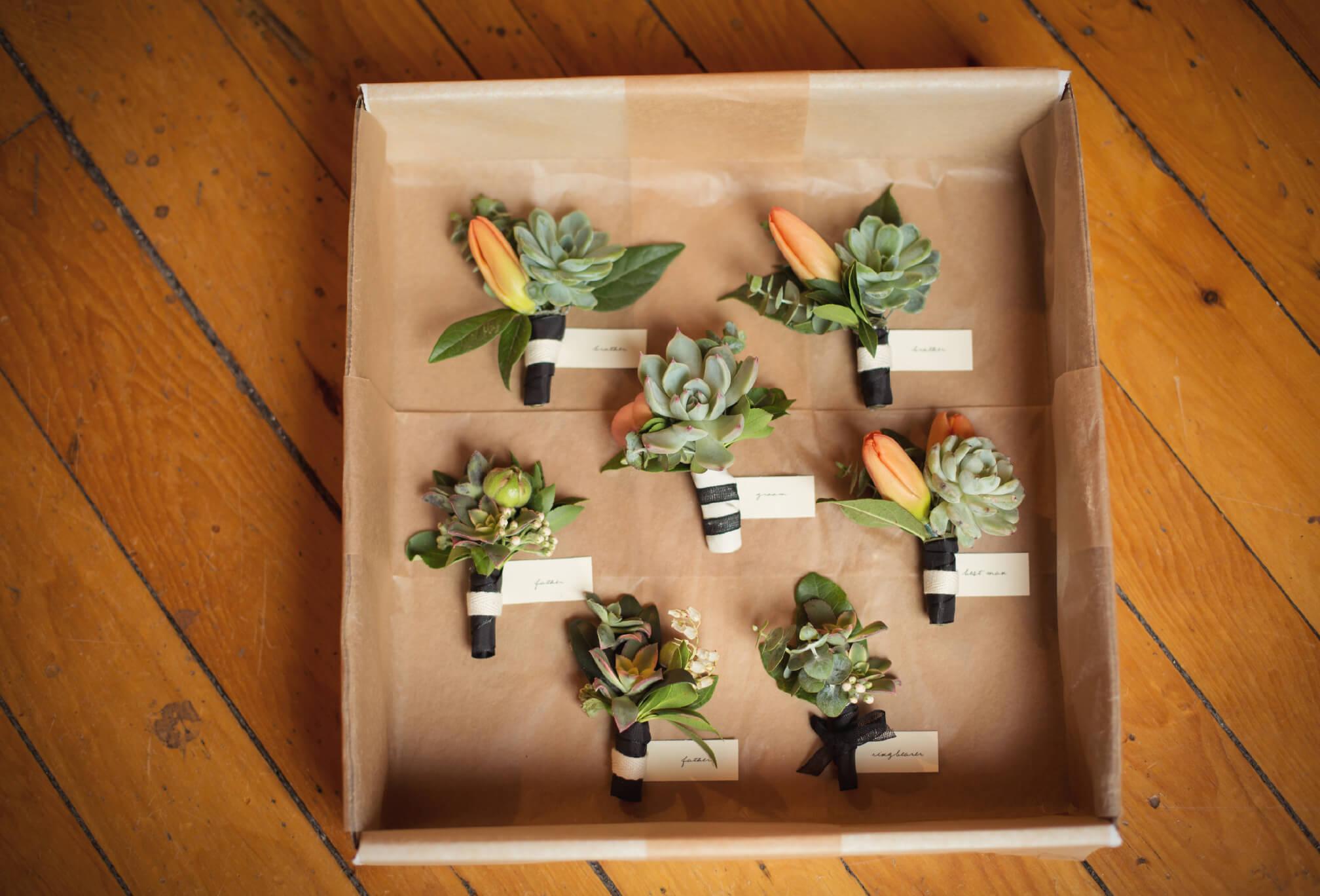 succulent boutenierres