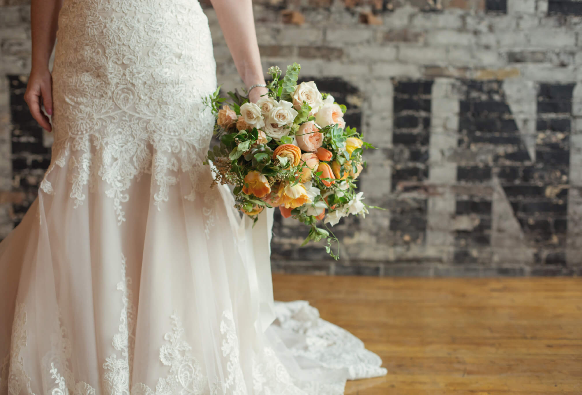 bride and bouquet at burroughes