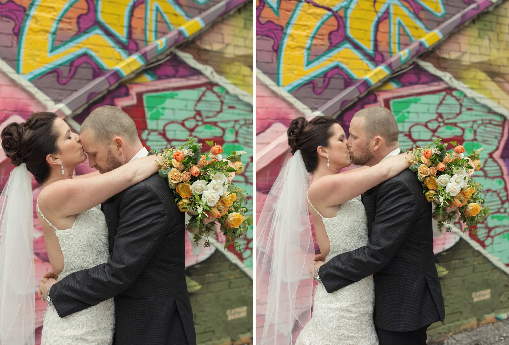 grafitti alley wedding kiss