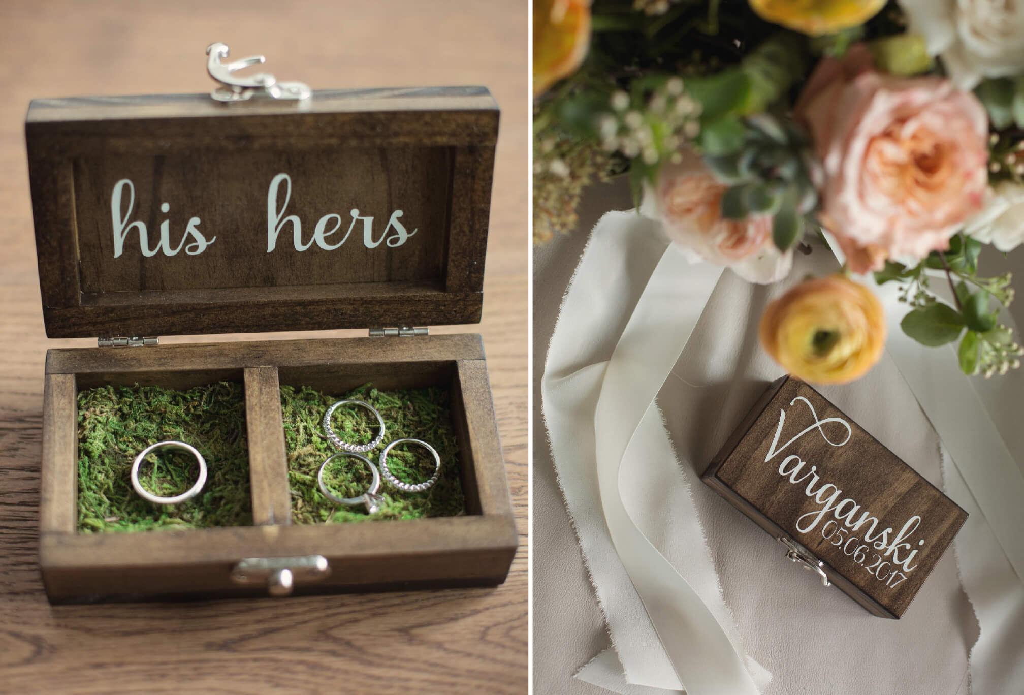 rustic wedding details ring holder