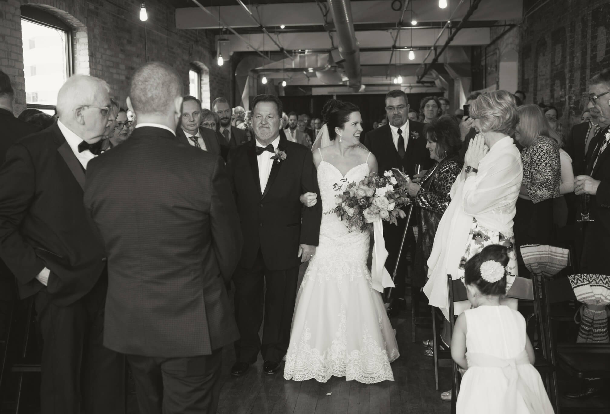 wedding ceremony at burroughes building