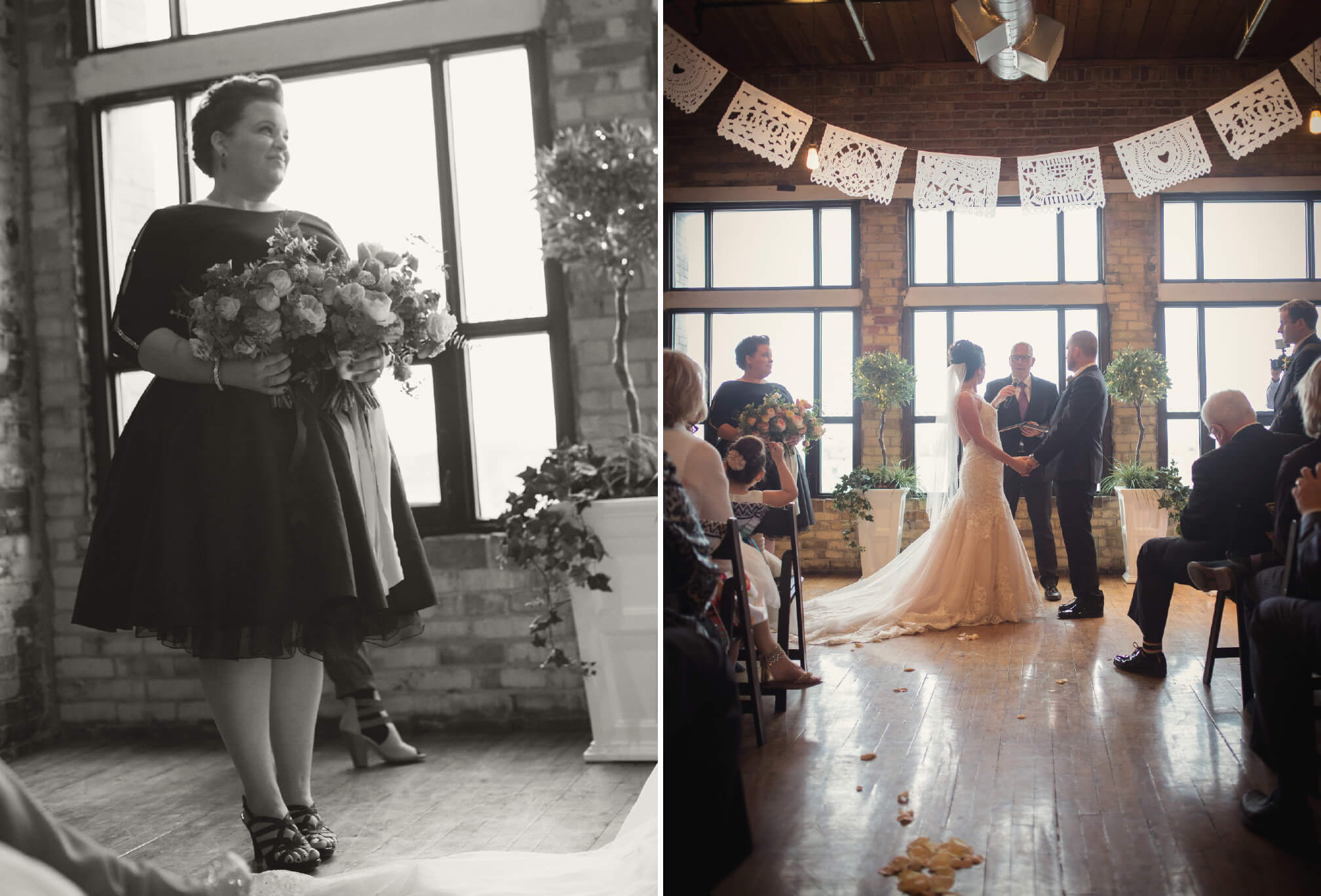 black and white burroughes building wedding