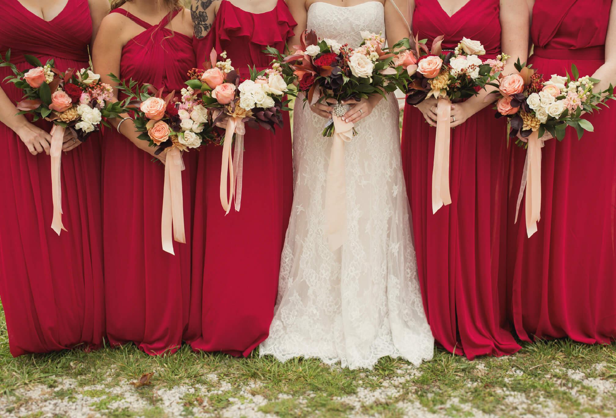 red bridesmaids in fall rustic