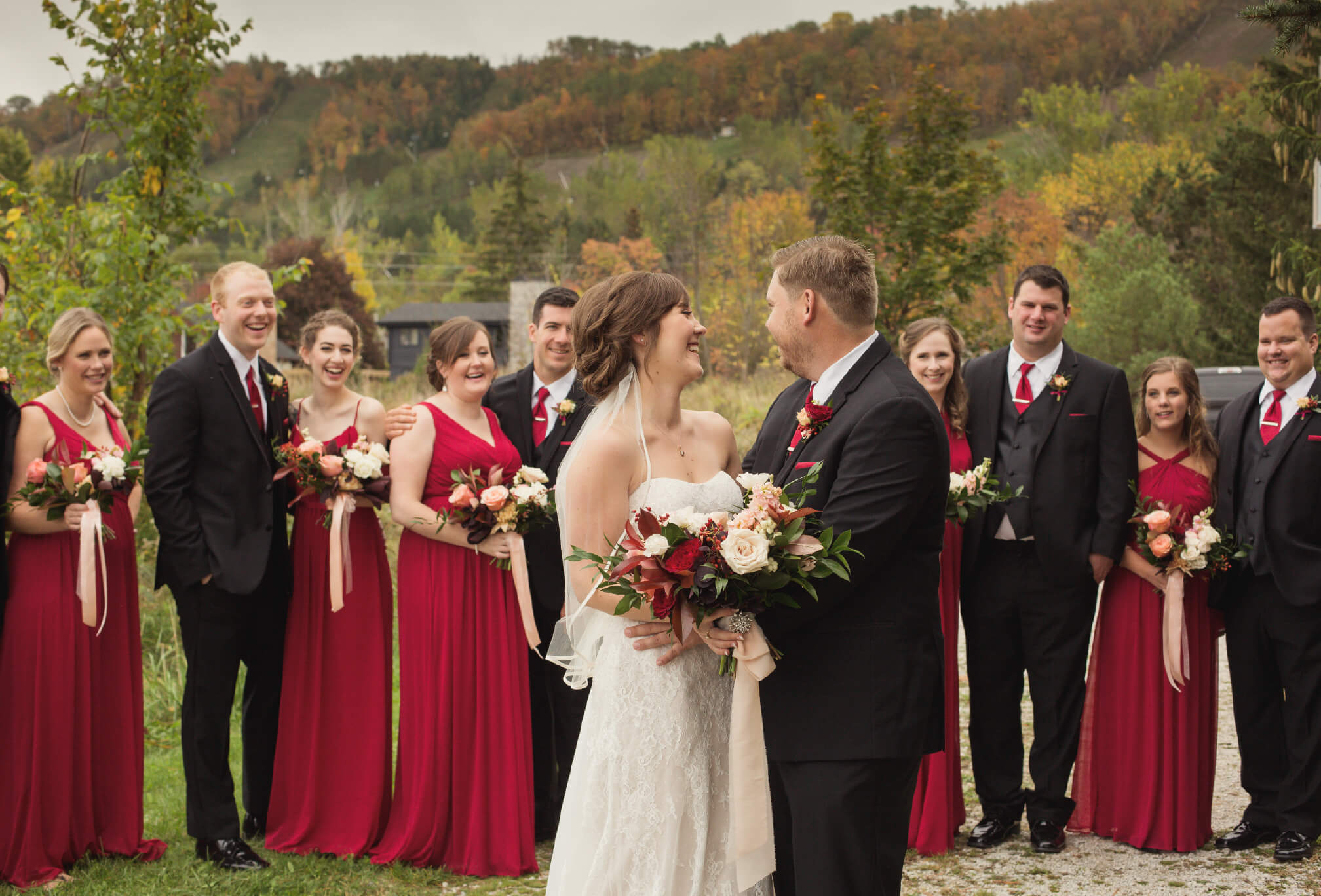 black and red wedding party