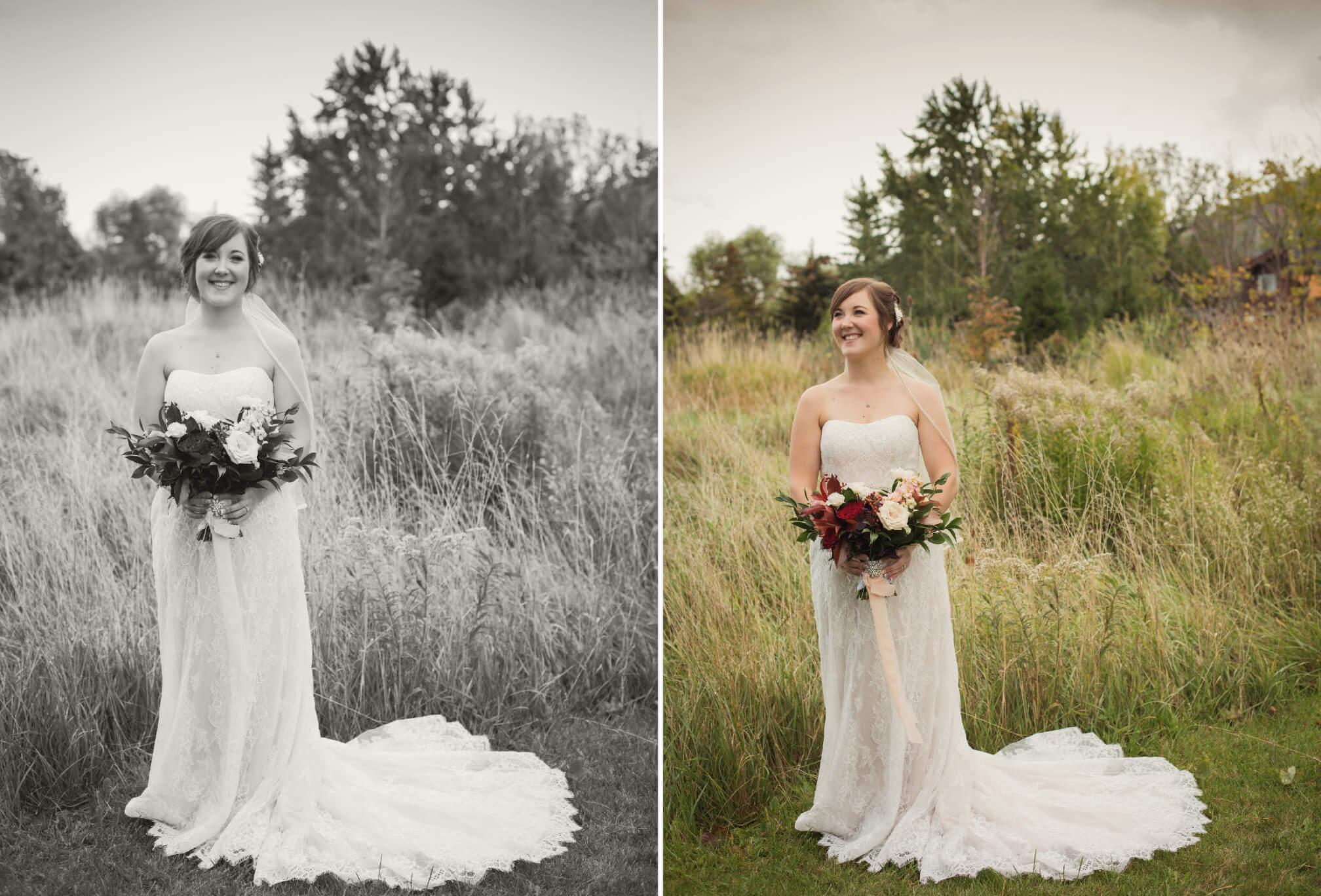 bride in field in fall