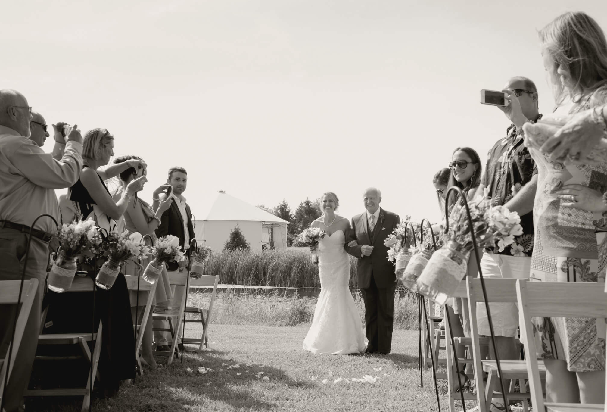 bride and father processional farm wedding