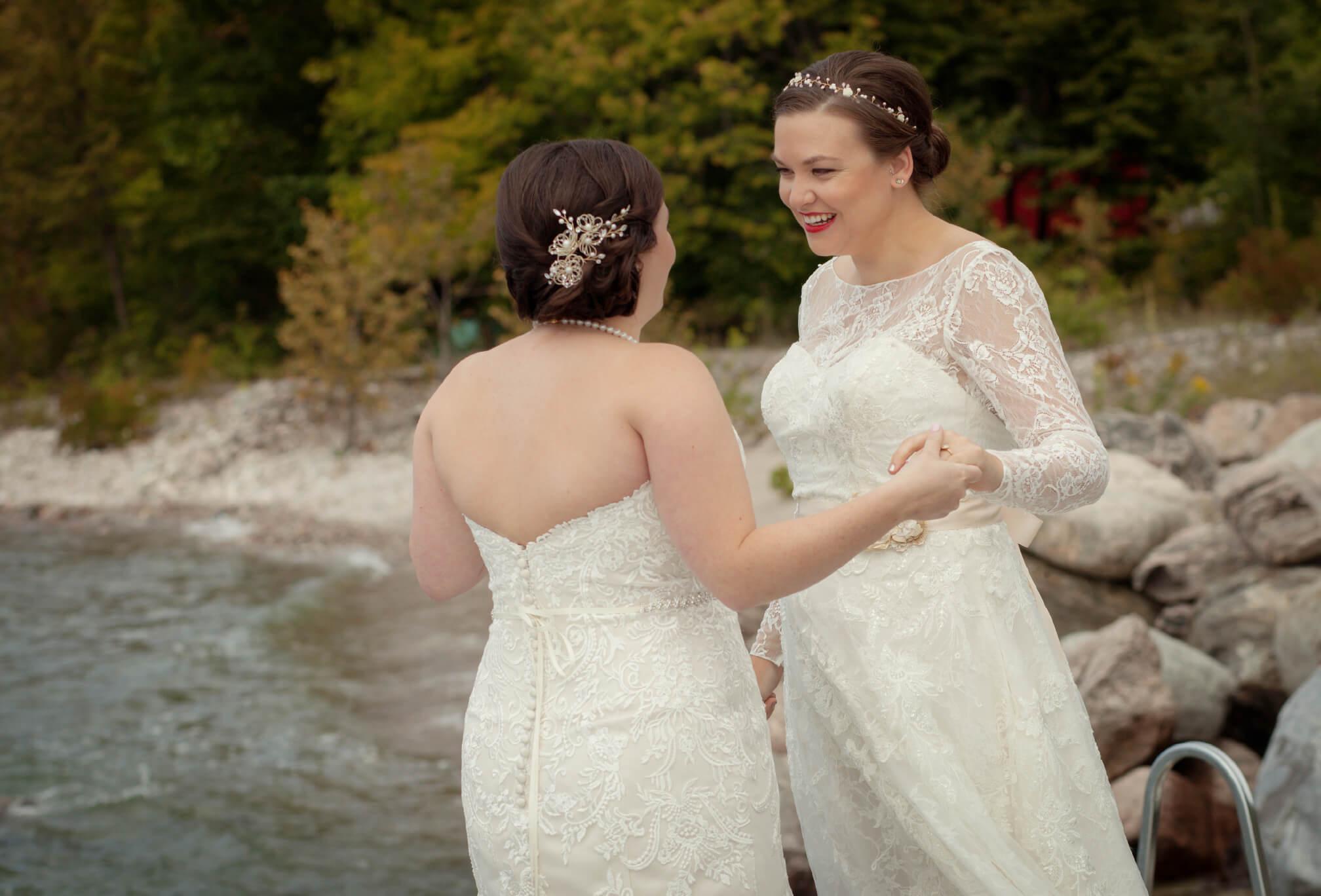 first look lesbian wedding