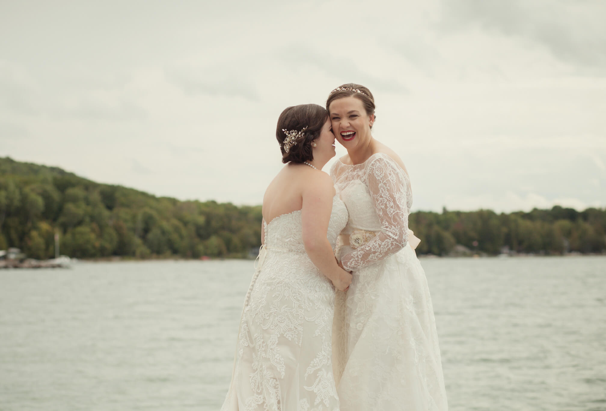 wedding photos on dock georgian bay