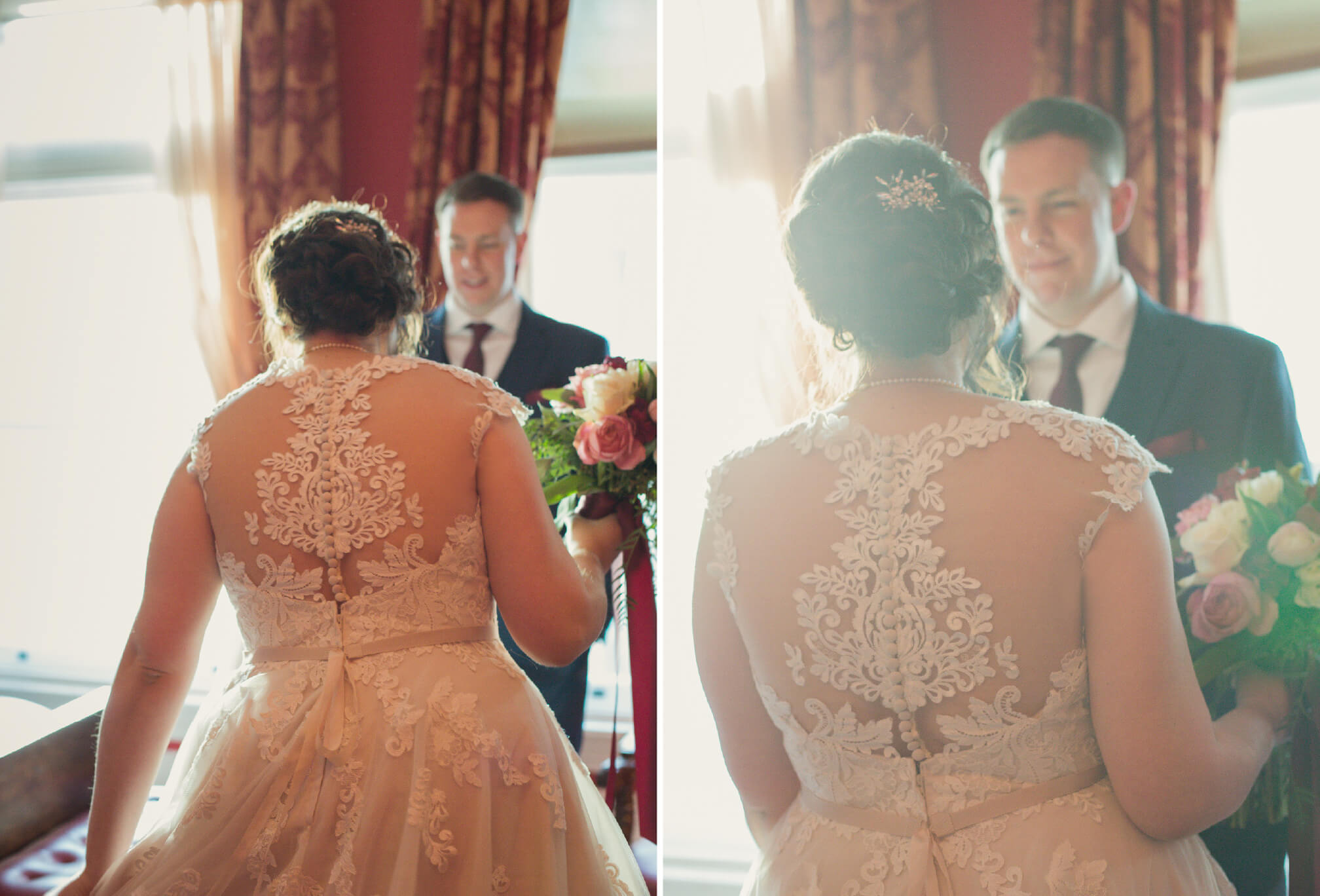 bride and groom in gladstone hotel room romantic