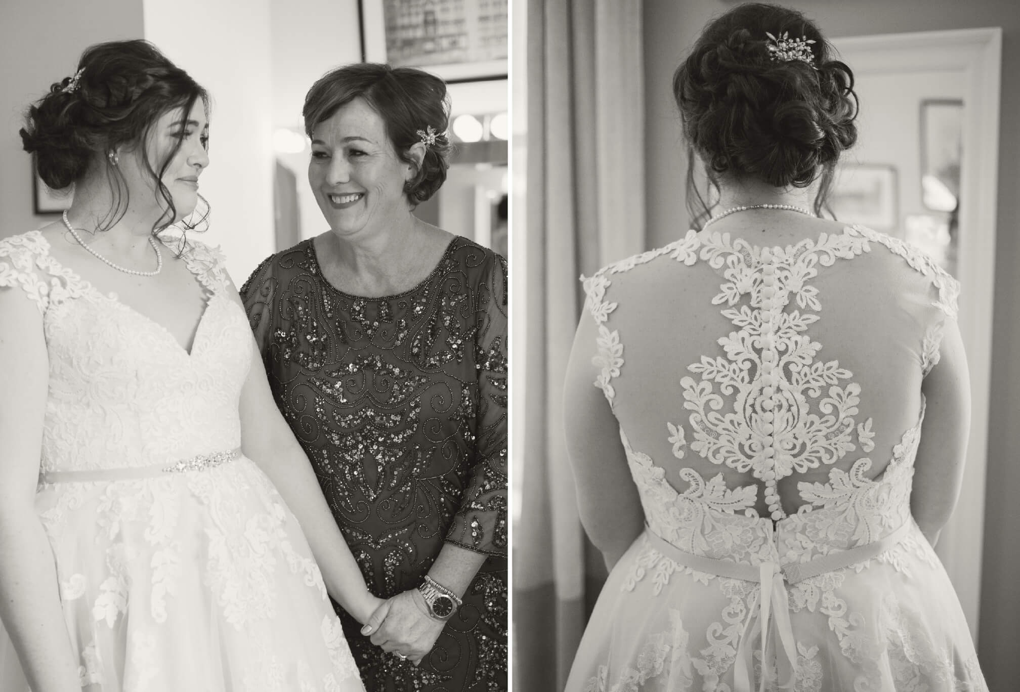 candid moment bride and mom