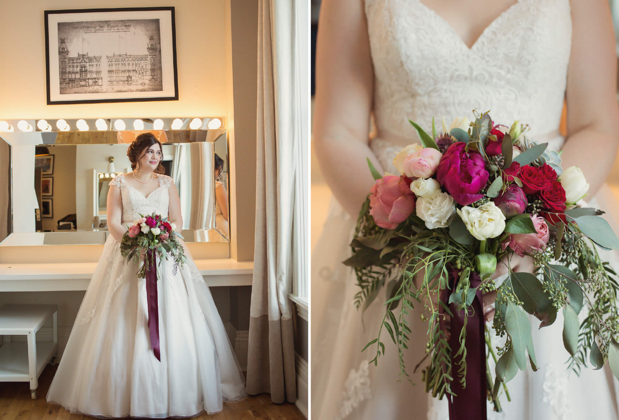 gorgeous bride dress and bouquet toronto