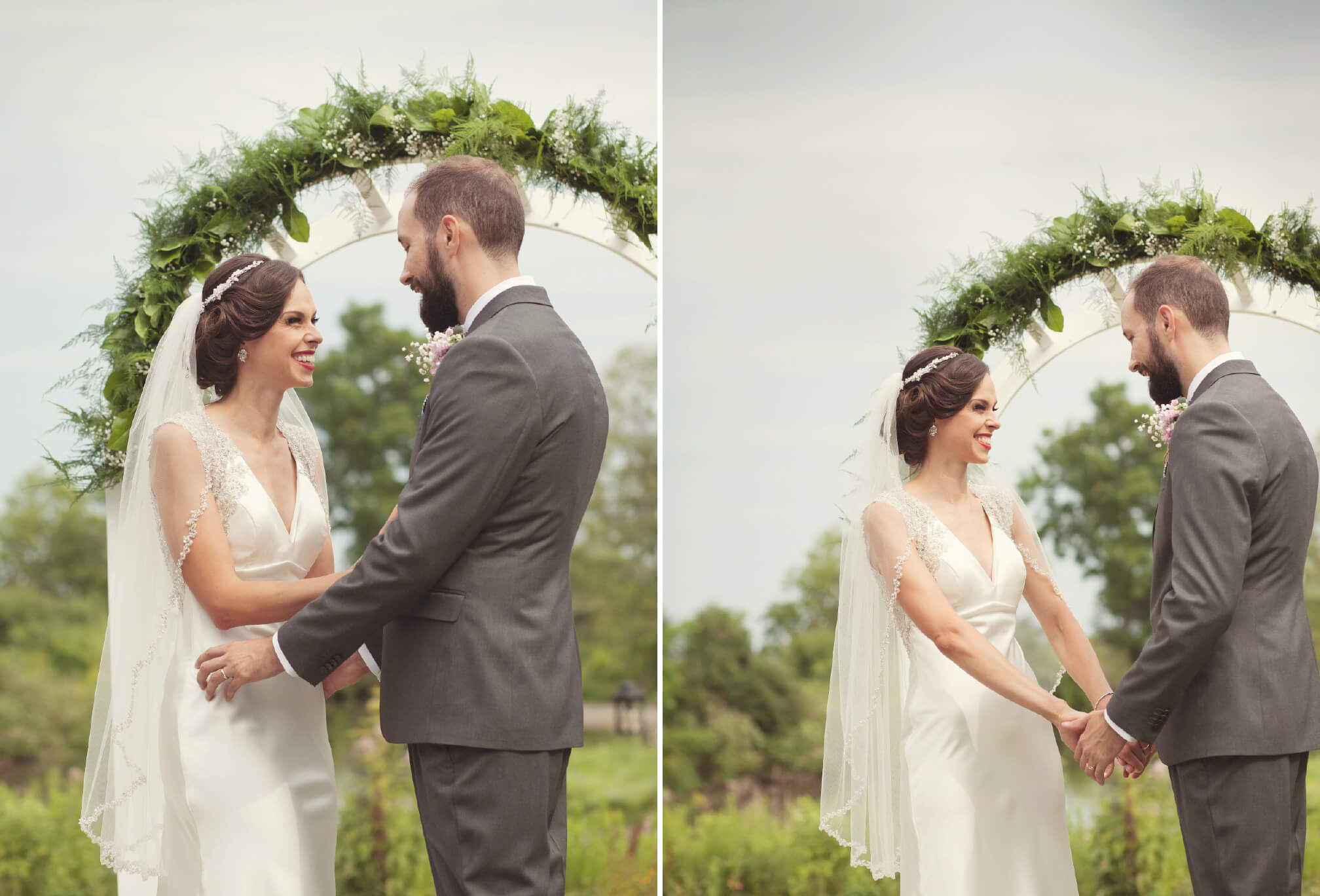 bride and groom laughing outdoor ceremony