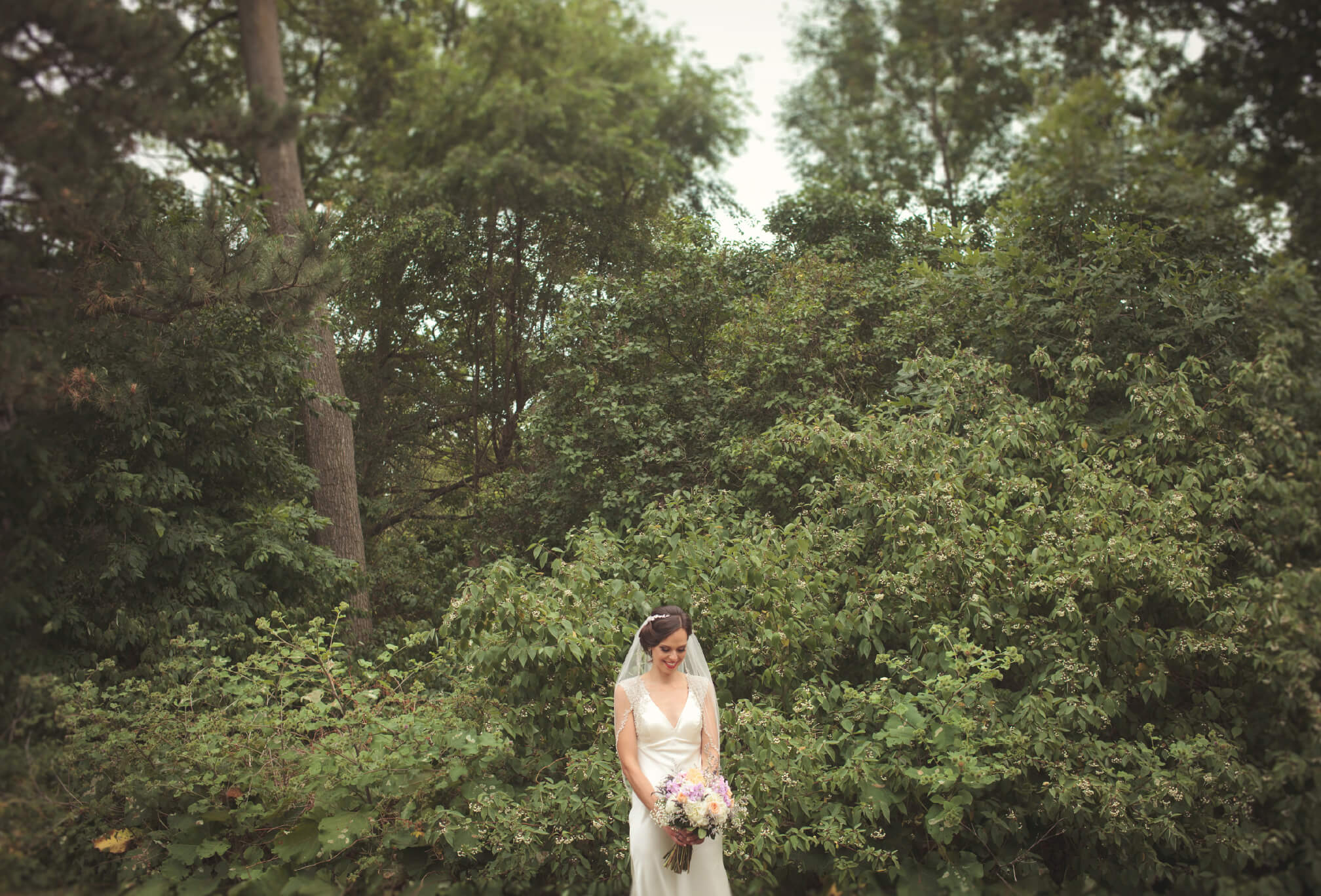 bride in forest outdoor photographer